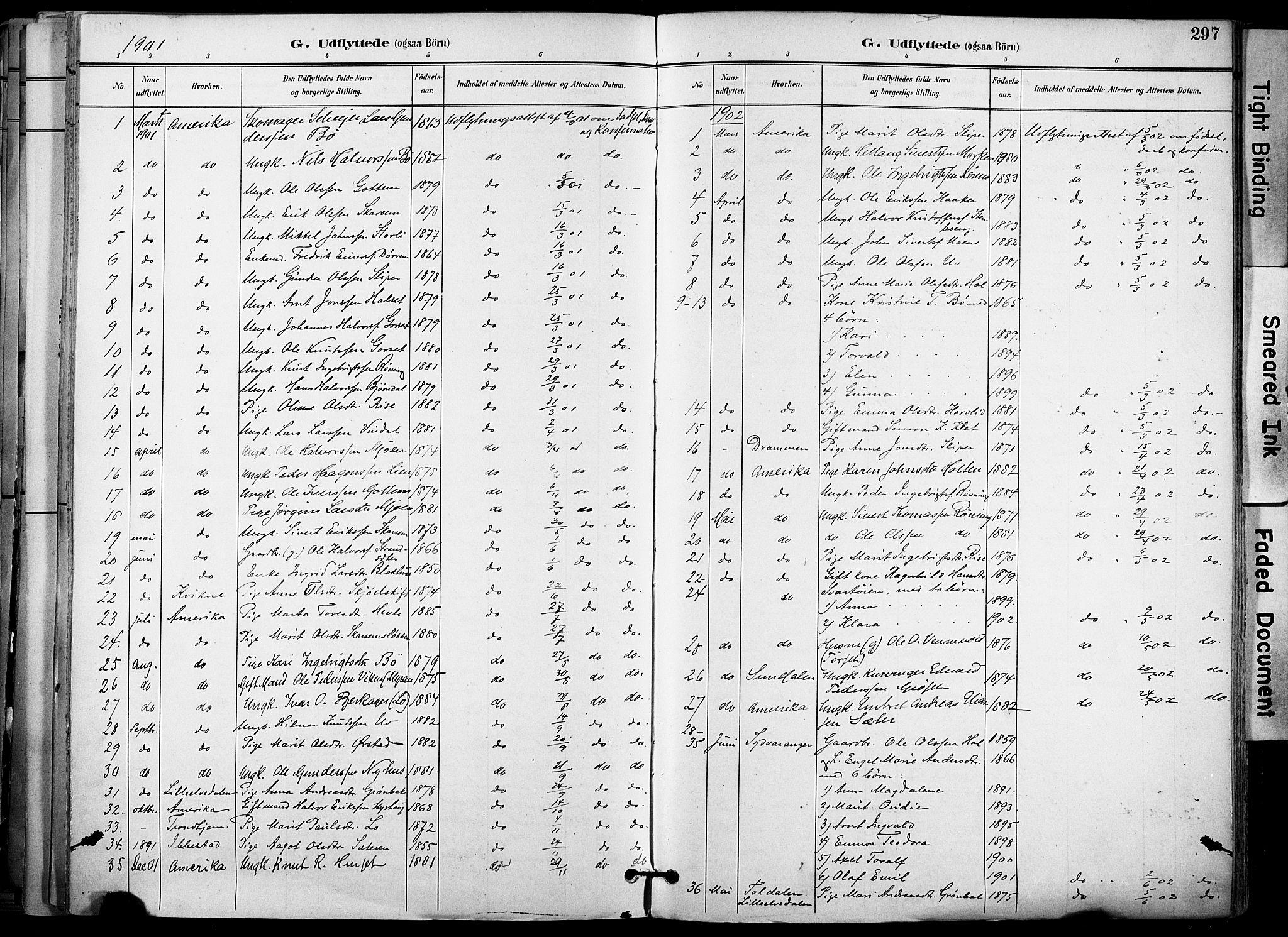 SAT, Ministerialprotokoller, klokkerbøker og fødselsregistre - Sør-Trøndelag, 678/L0902: Ministerialbok nr. 678A11, 1895-1911, s. 297