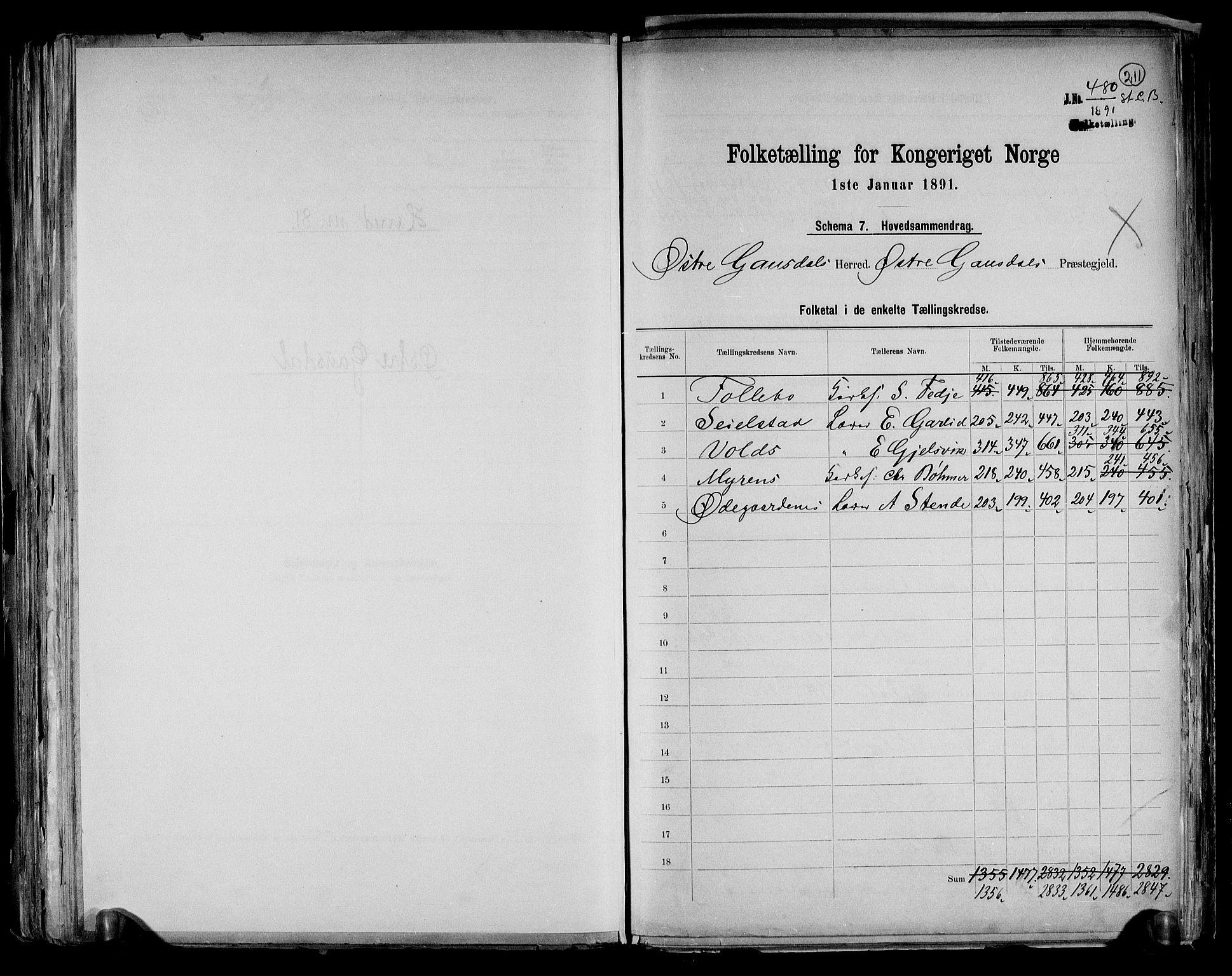 RA, Folketelling 1891 for 0522 Østre Gausdal herred, 1891, s. 2