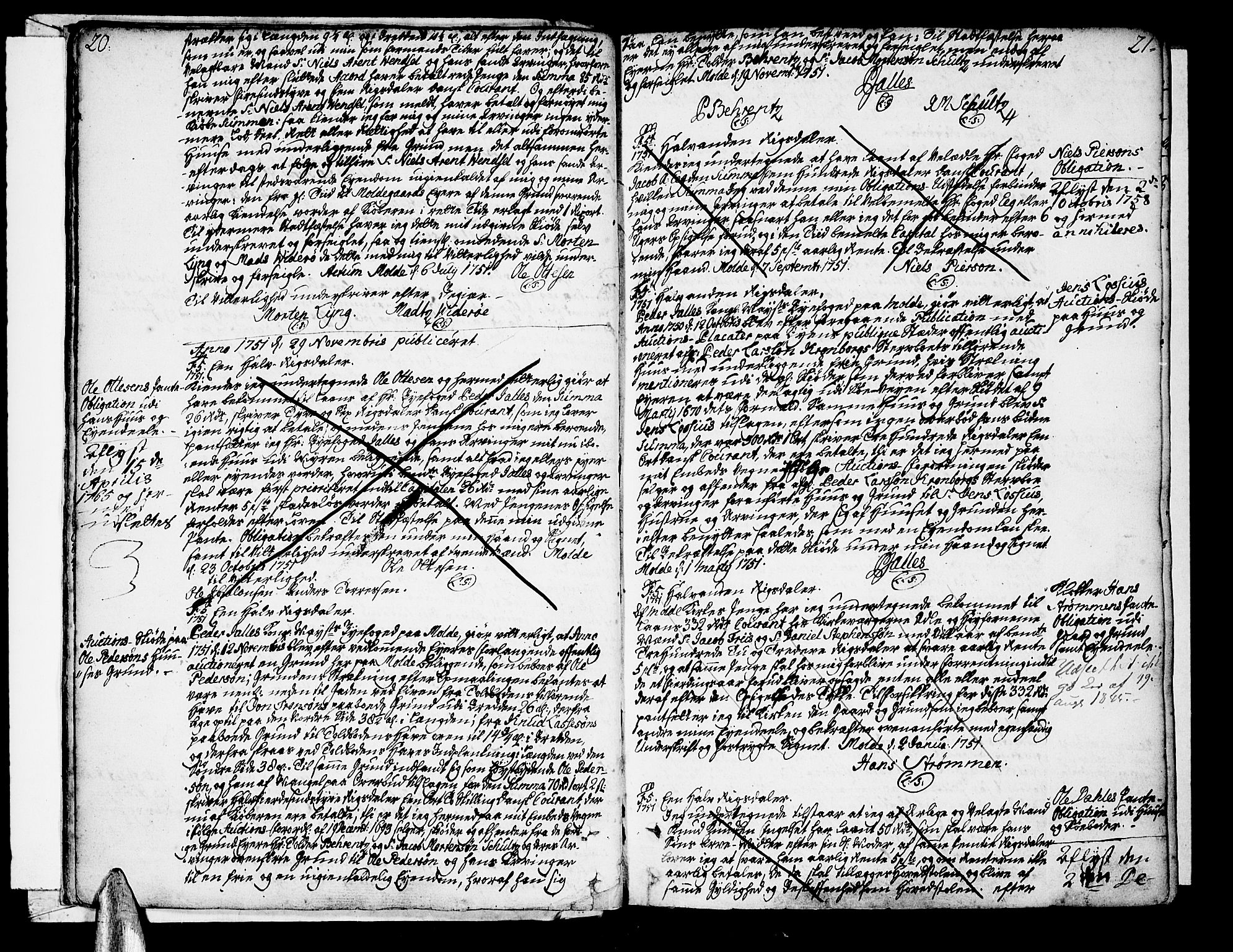 SAT, Molde byfogd, 2/2C/L0001: Pantebok nr. 1, 1748-1823, s. 20-21