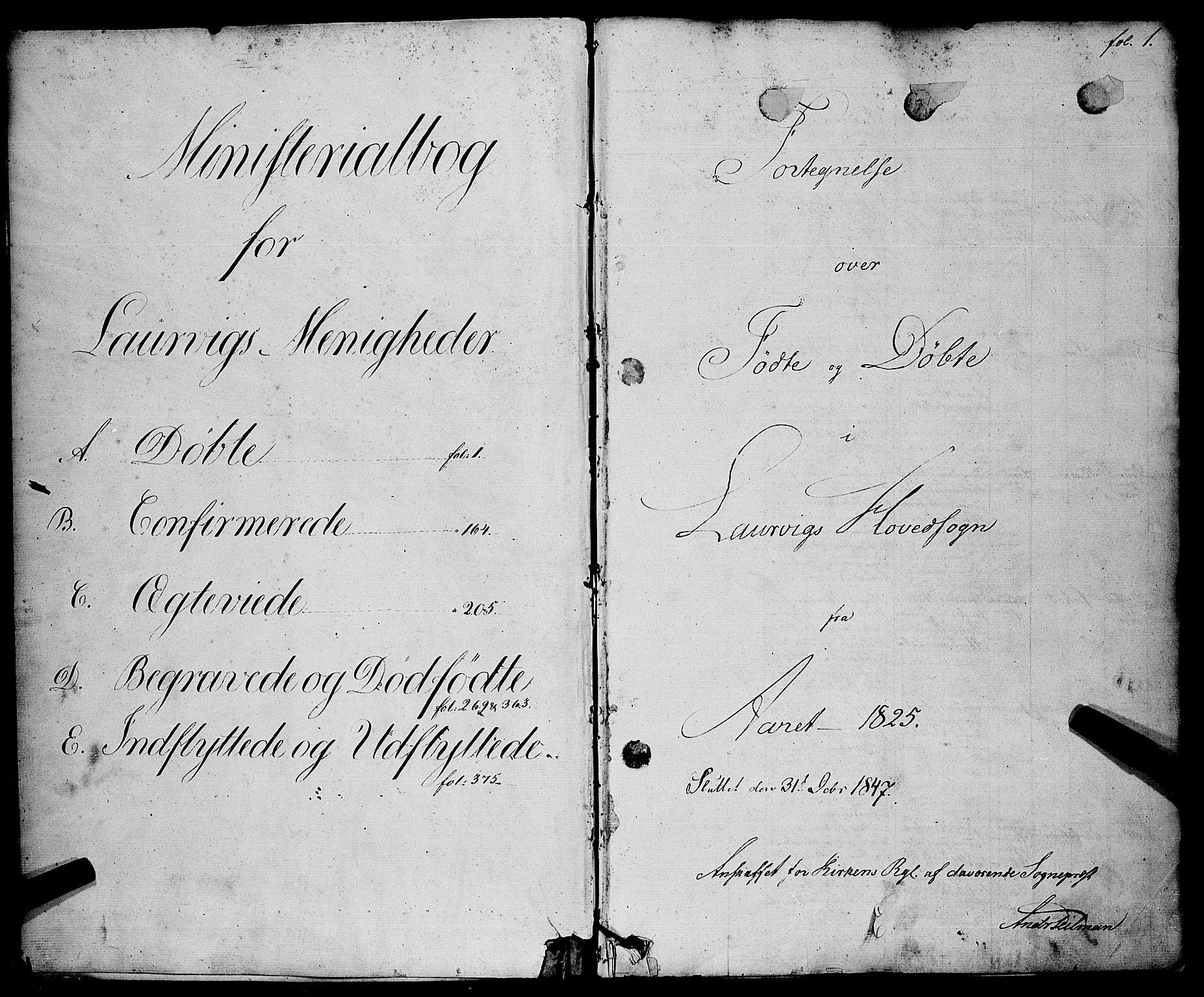 SAKO, Larvik kirkebøker, F/Fa/L0002: Ministerialbok nr. I 2, 1825-1847, s. 1