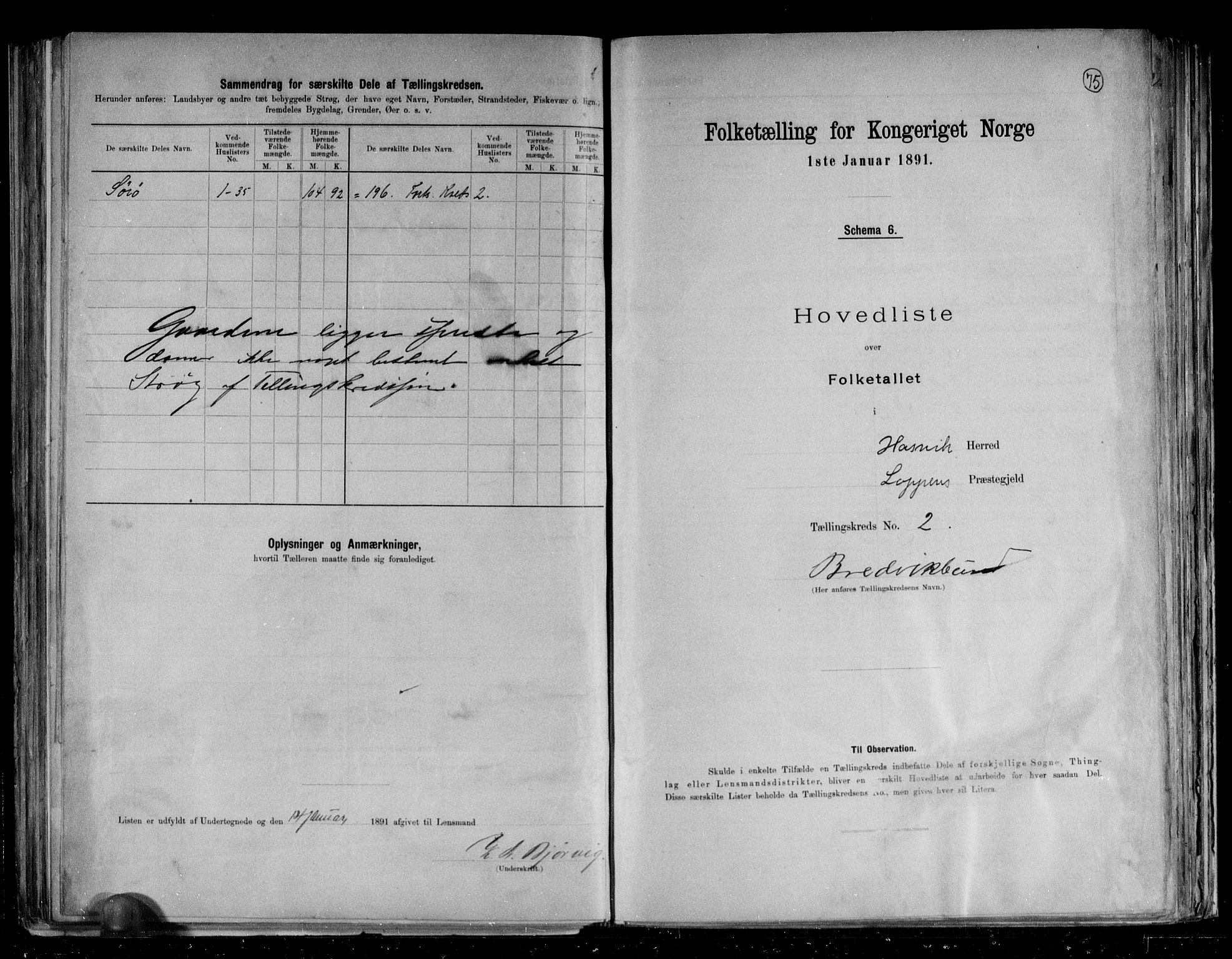 RA, Folketelling 1891 for 2015 Hasvik herred, 1891, s. 7