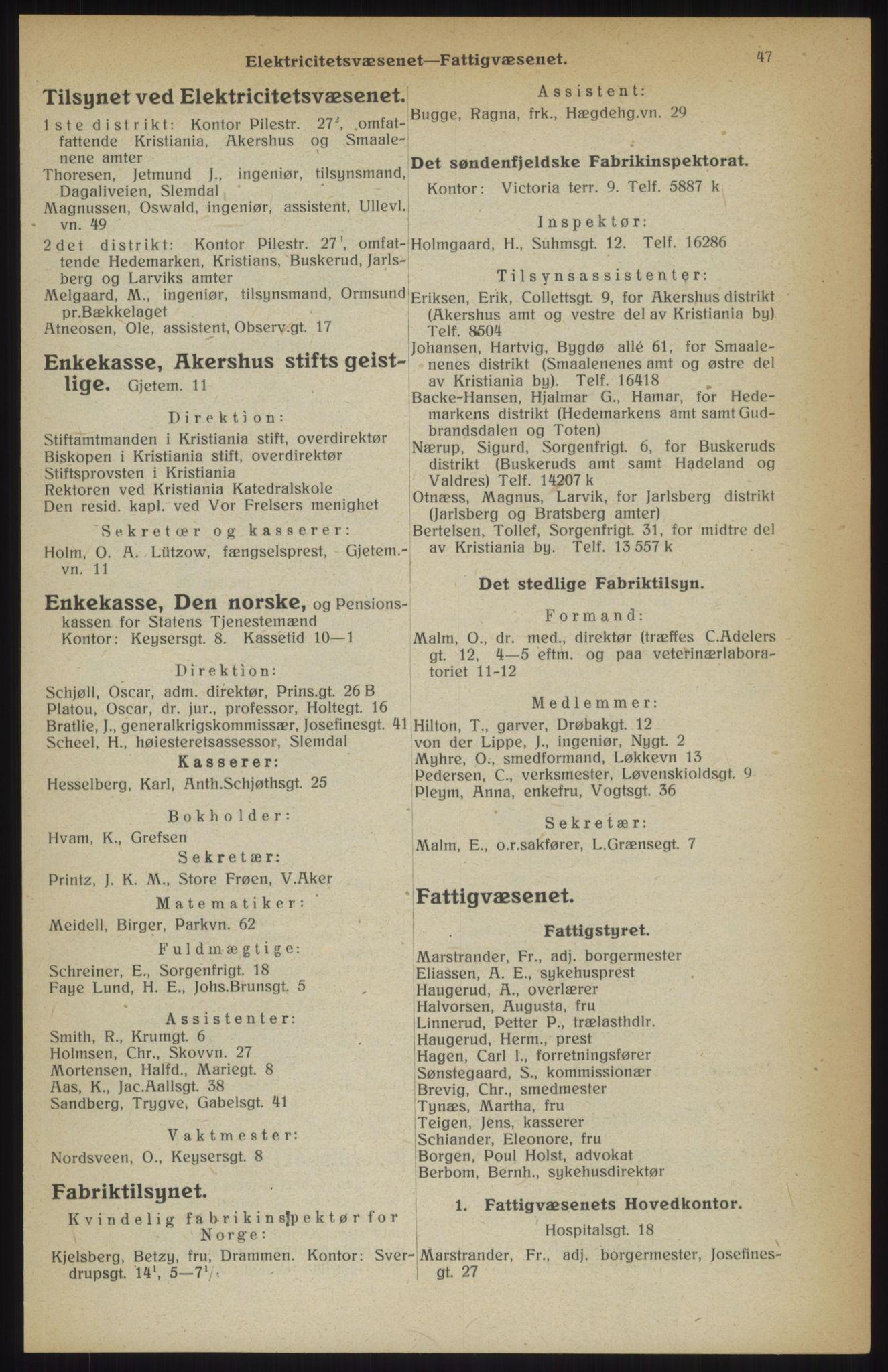 RA, Kristiania adressebok (publikasjon)*, 1914, s. 47