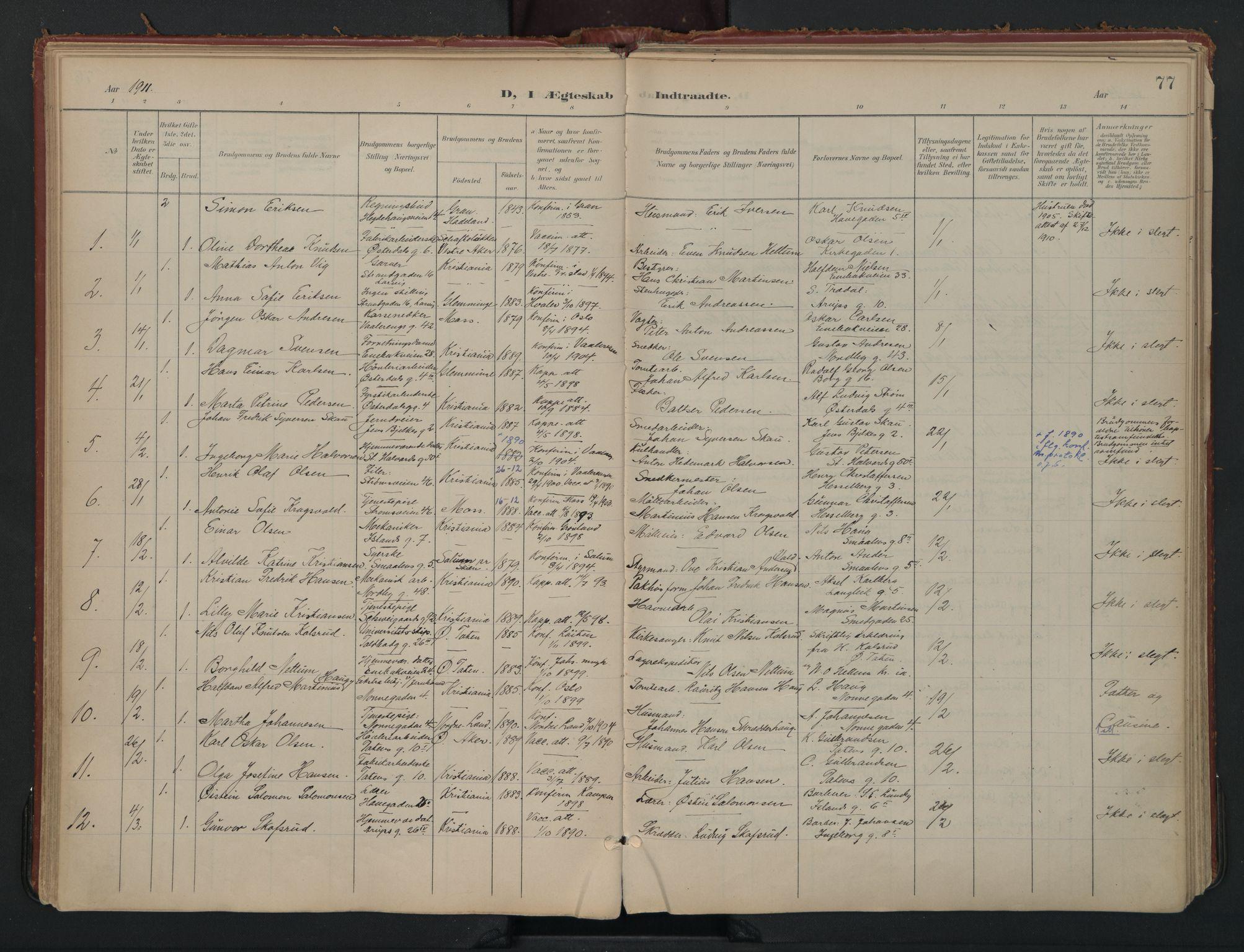SAO, Vålerengen prestekontor Kirkebøker, F/Fa/L0002: Ministerialbok nr. 2, 1899-1924, s. 77
