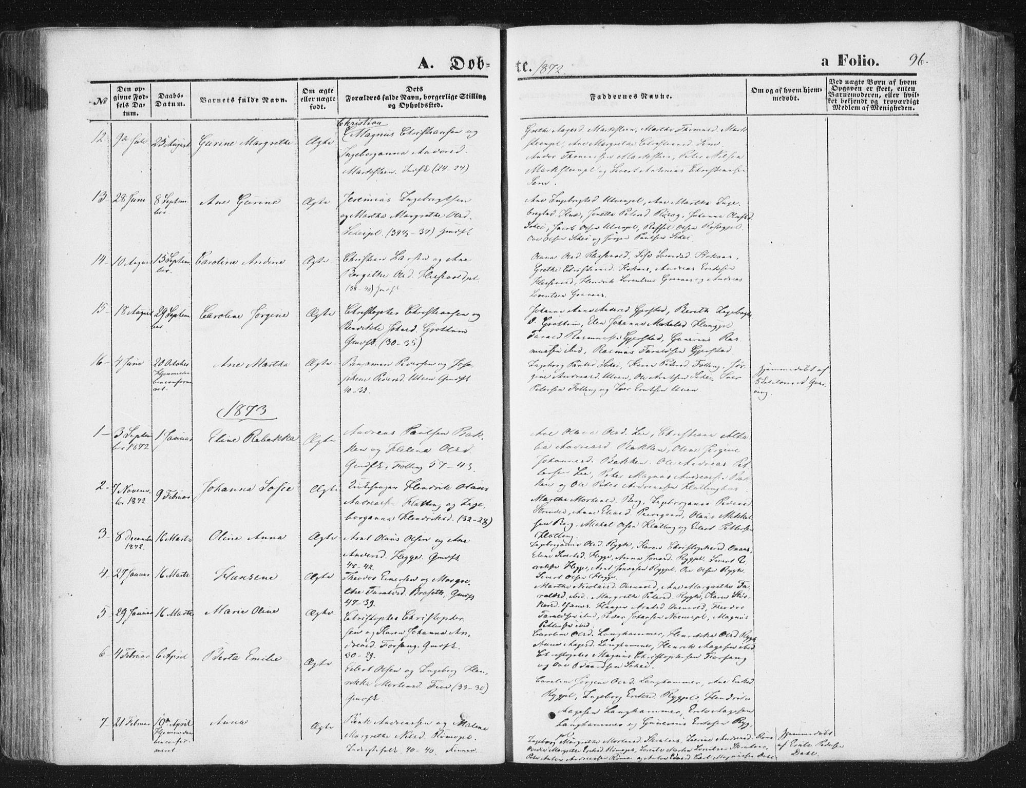 SAT, Ministerialprotokoller, klokkerbøker og fødselsregistre - Nord-Trøndelag, 746/L0447: Ministerialbok nr. 746A06, 1860-1877, s. 96