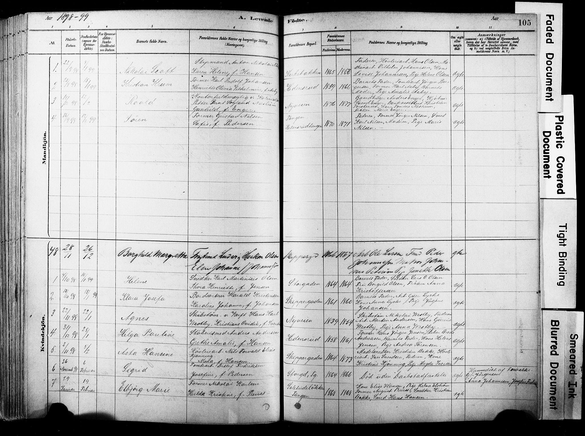 SAKO, Strømsø kirkebøker, F/Fb/L0006: Ministerialbok nr. II 6, 1879-1910, s. 105