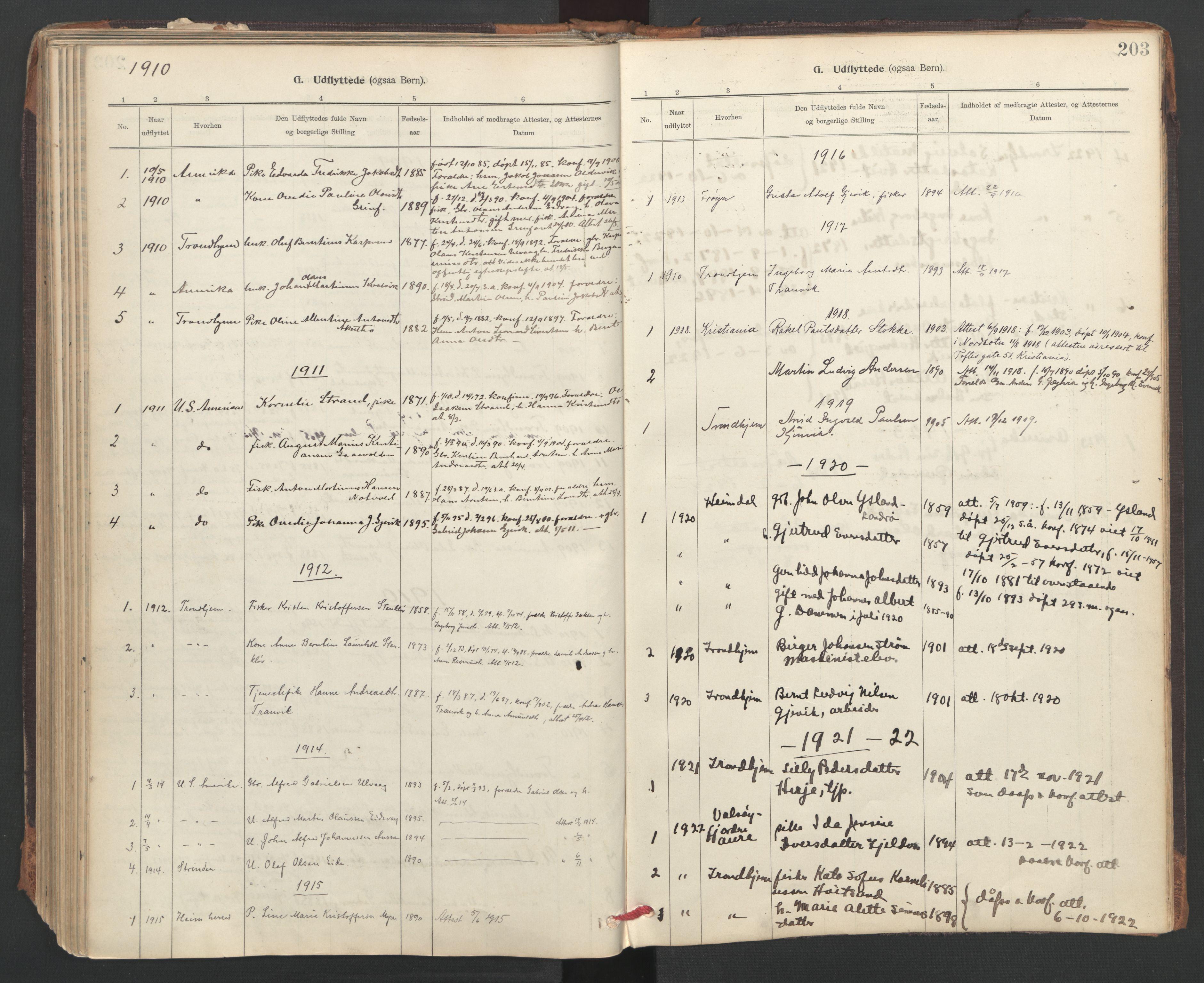 SAT, Ministerialprotokoller, klokkerbøker og fødselsregistre - Sør-Trøndelag, 637/L0559: Ministerialbok nr. 637A02, 1899-1923, s. 203