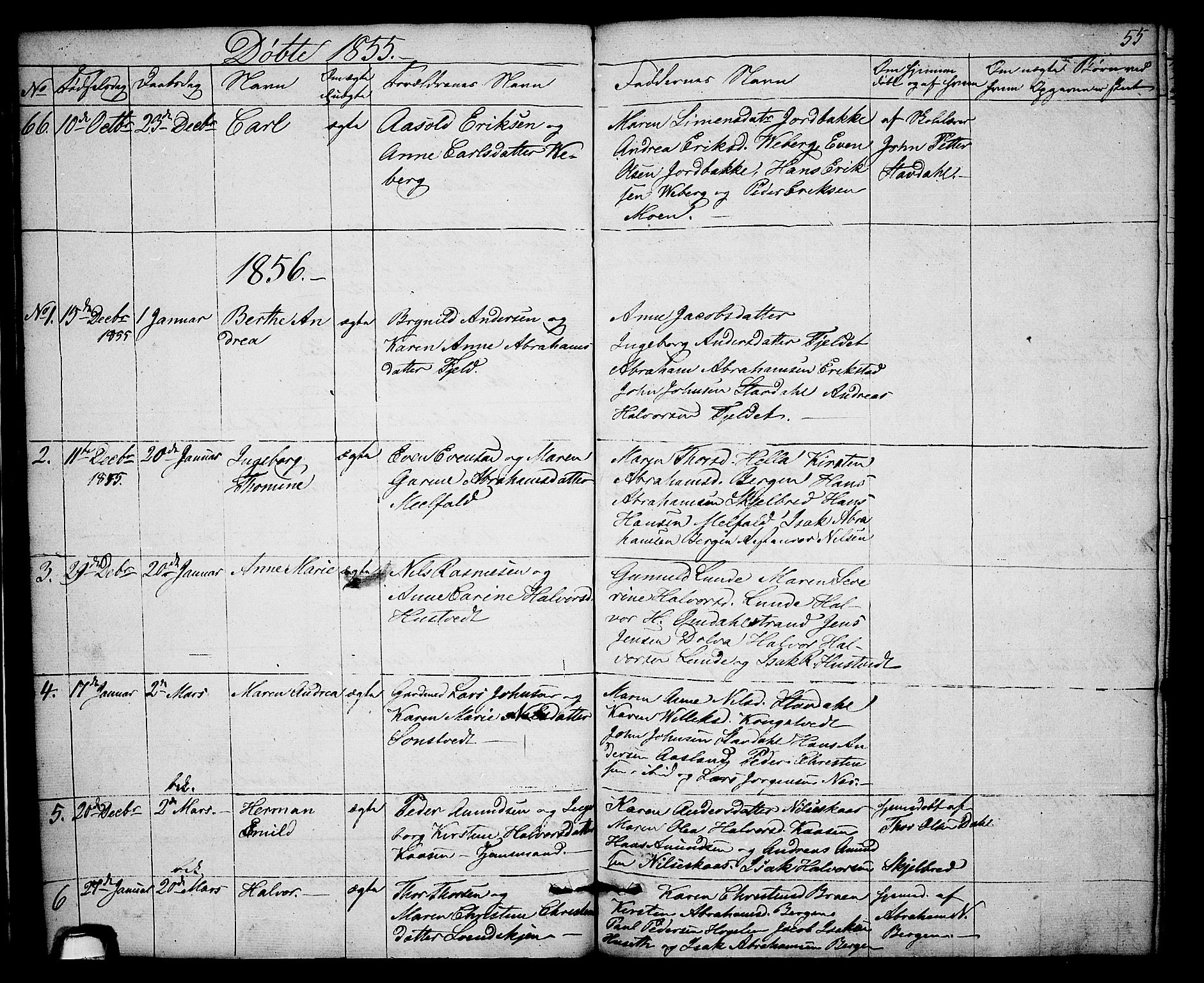 SAKO, Solum kirkebøker, G/Gb/L0001: Klokkerbok nr. II 1, 1848-1859, s. 55