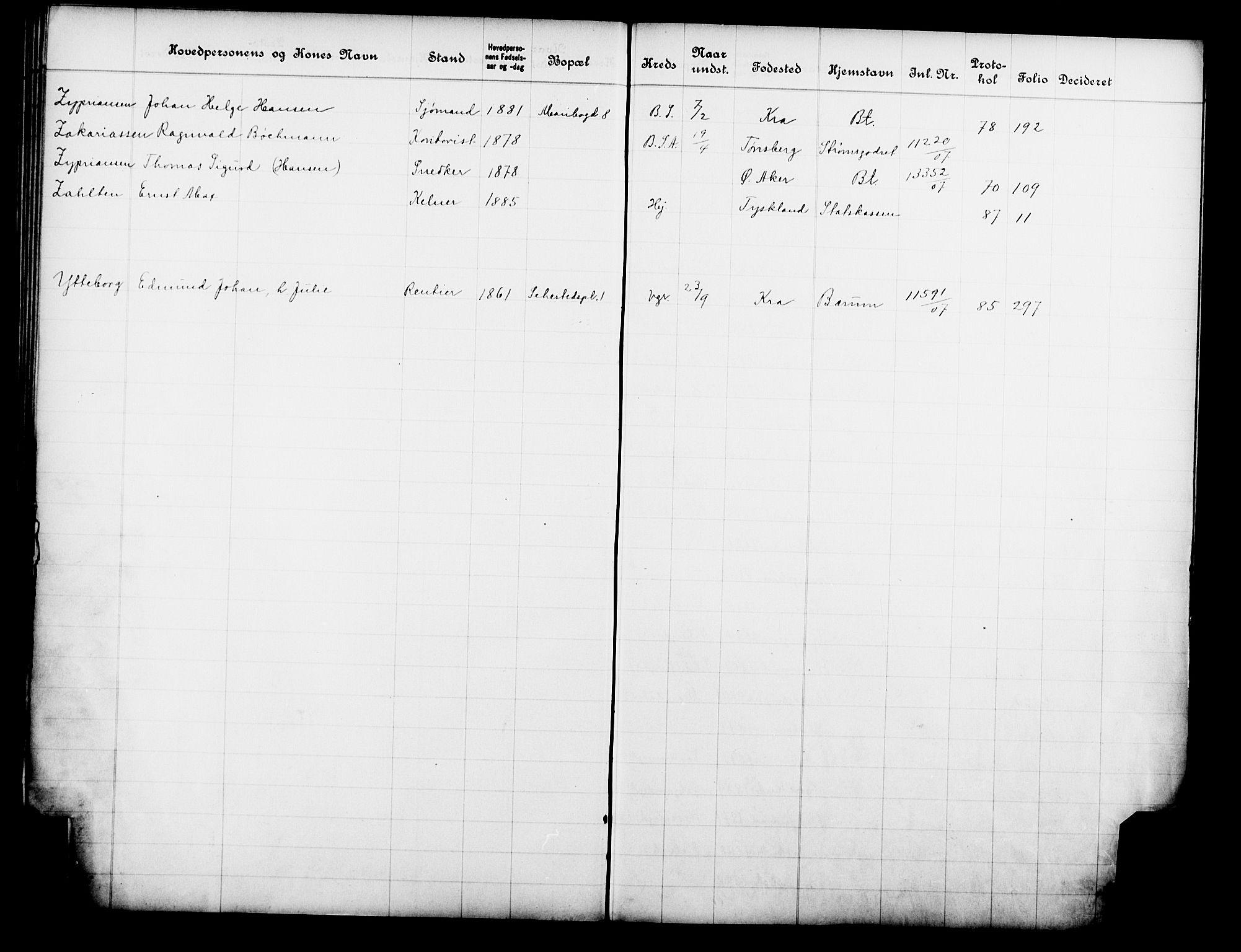 OBA, Fattigvesenet, Fb/L0026: Hjemstavnsregister, 1907, s. 207
