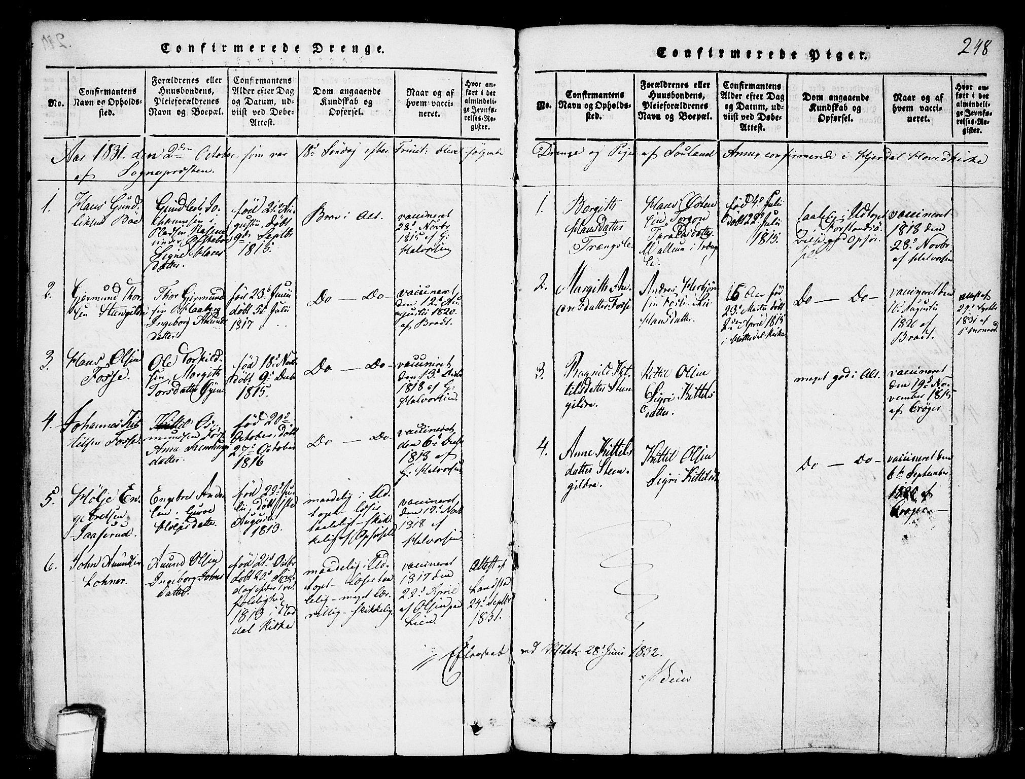 SAKO, Hjartdal kirkebøker, F/Fb/L0001: Ministerialbok nr. II 1, 1815-1843, s. 248