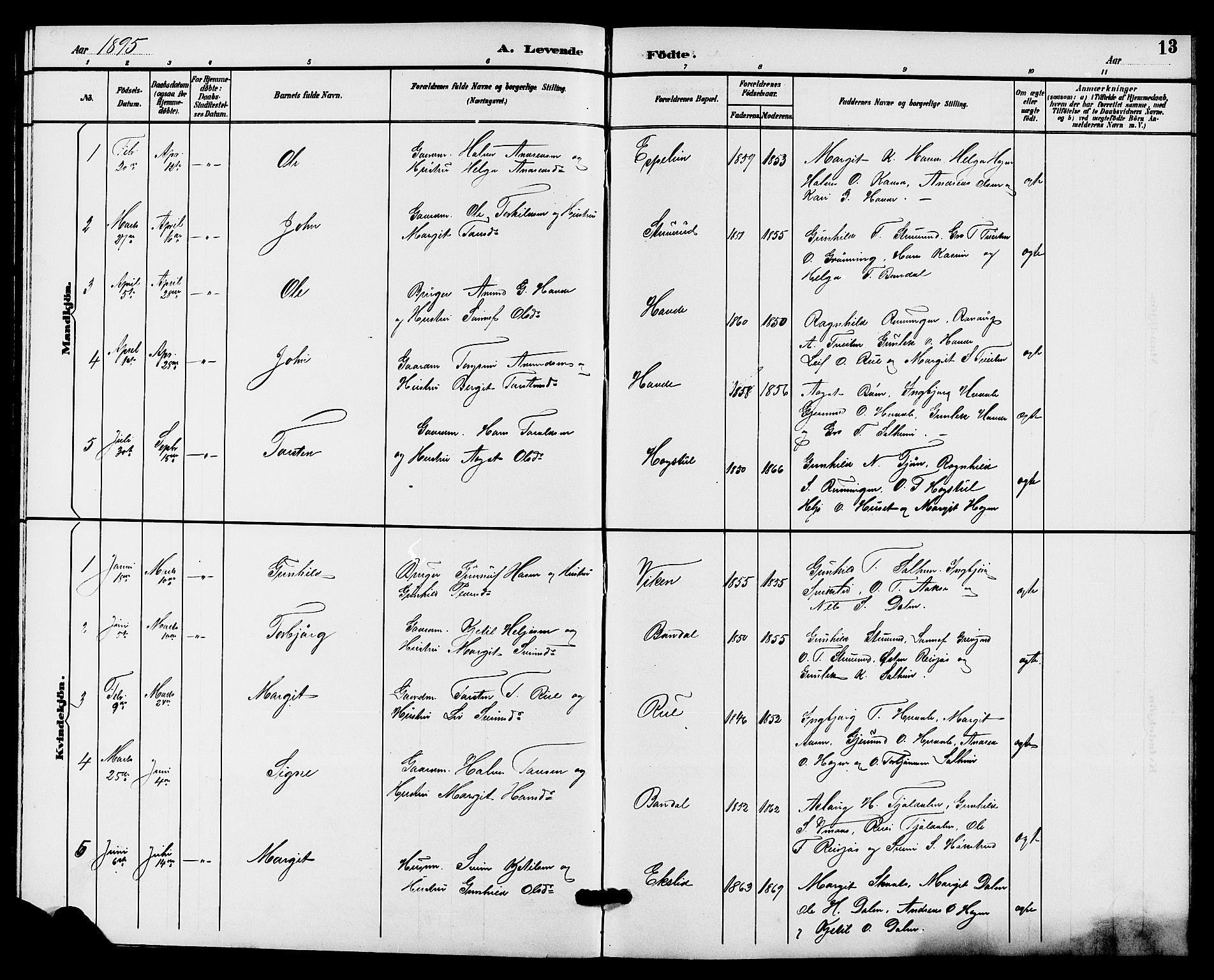 SAKO, Hjartdal kirkebøker, G/Gc/L0003: Klokkerbok nr. III 3, 1890-1907, s. 13
