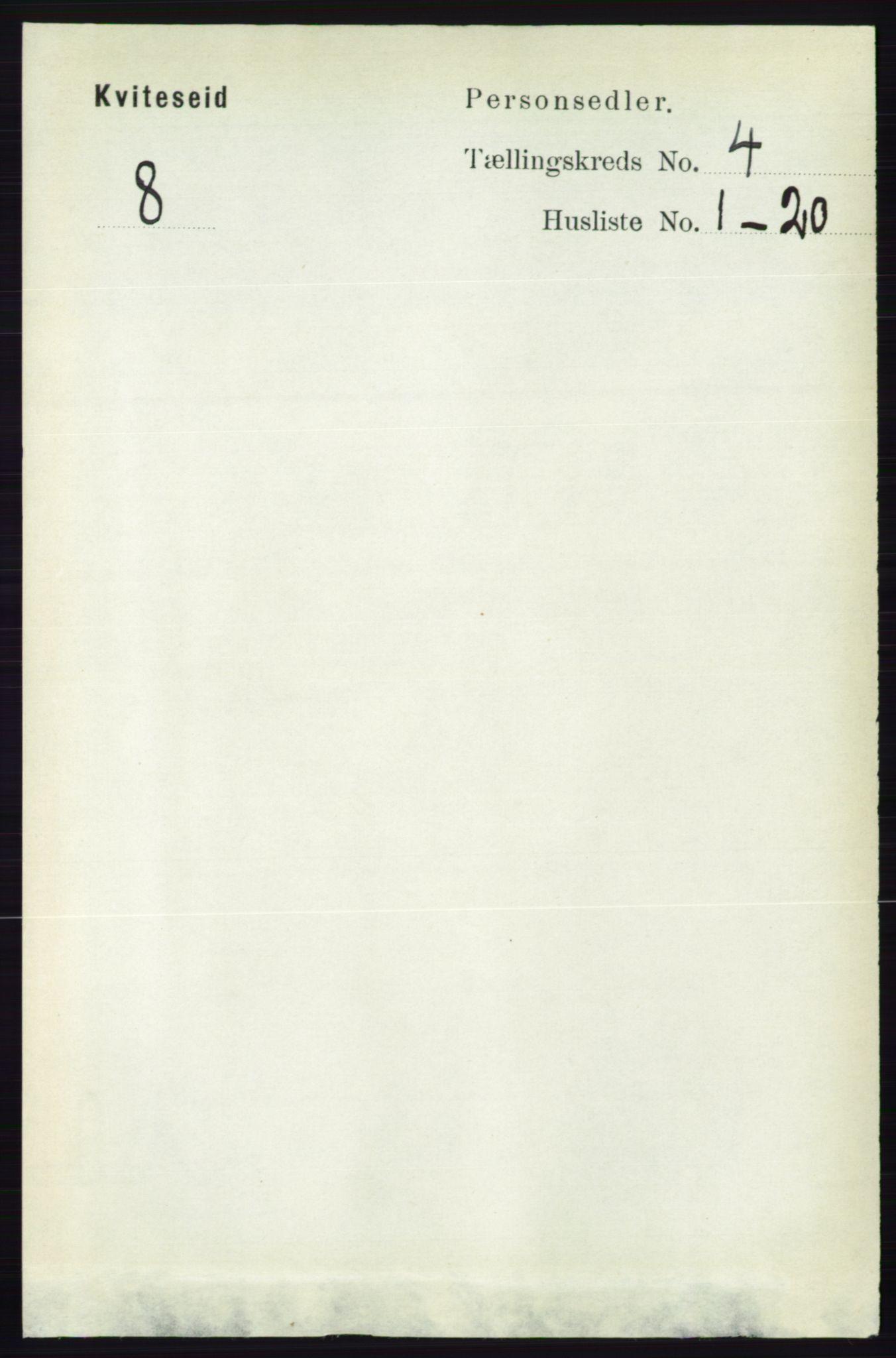 RA, Folketelling 1891 for 0829 Kviteseid herred, 1891, s. 726