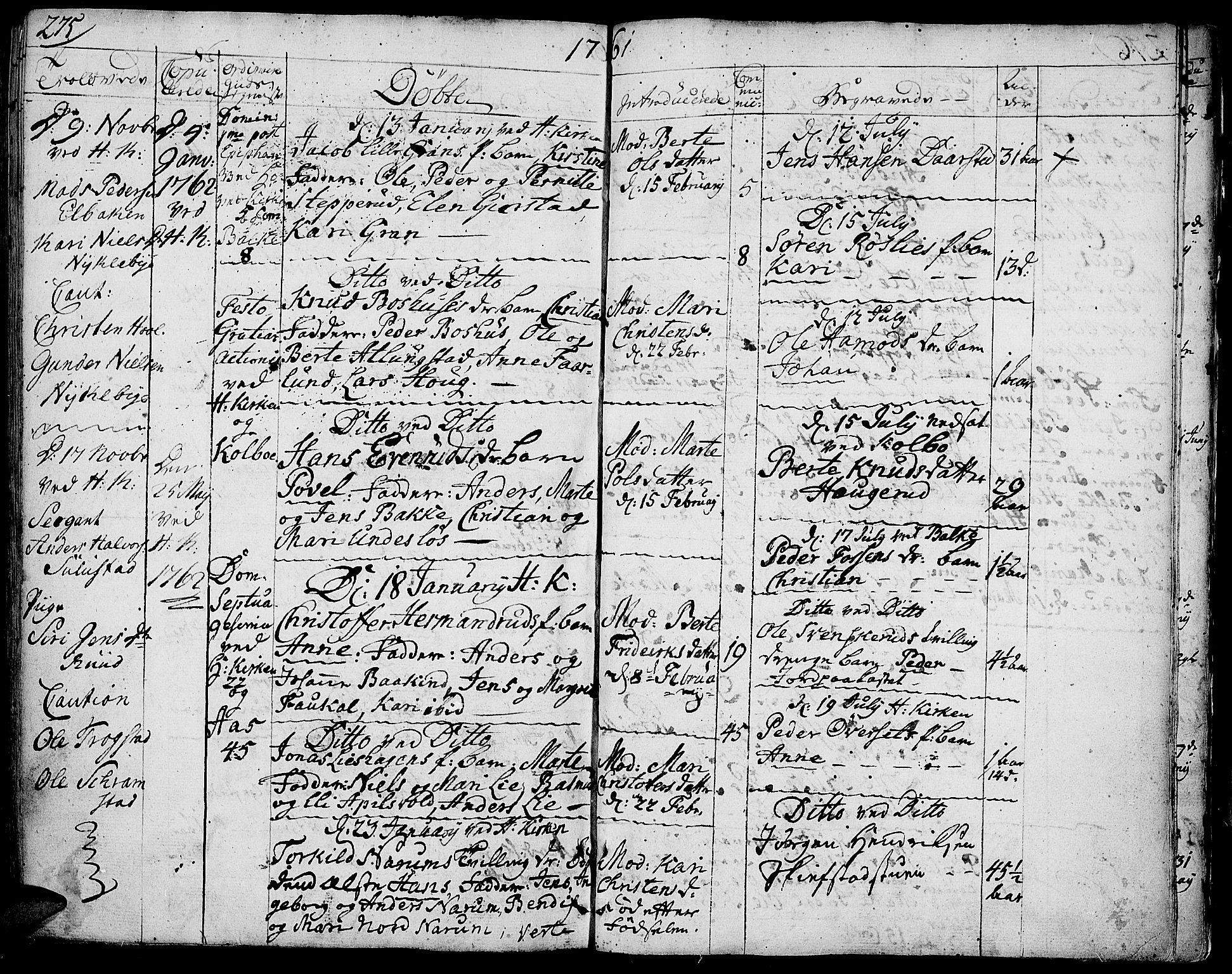 SAH, Toten prestekontor, Ministerialbok nr. 4, 1751-1761, s. 275