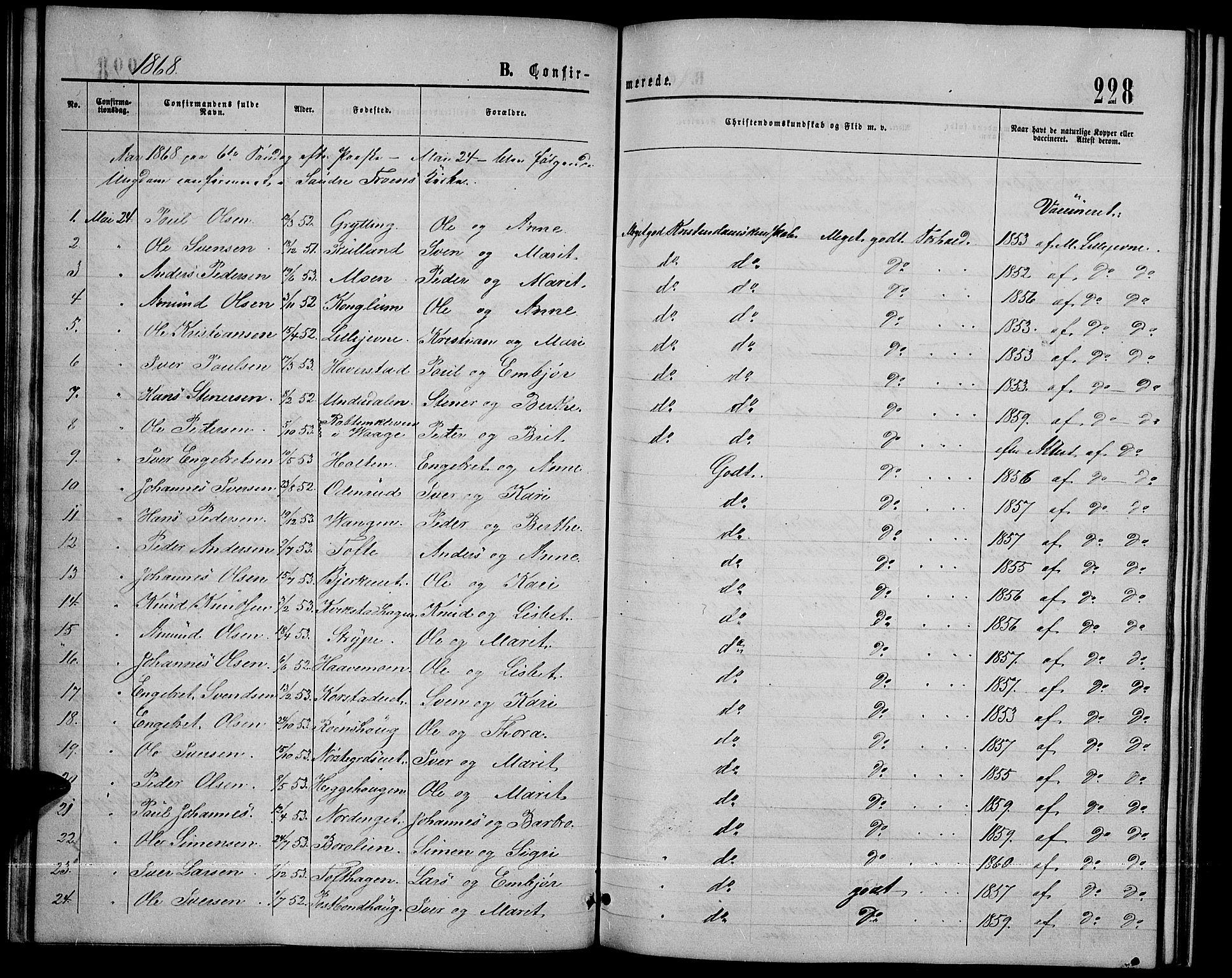 SAH, Sør-Fron prestekontor, H/Ha/Hab/L0002: Klokkerbok nr. 2, 1864-1883, s. 228