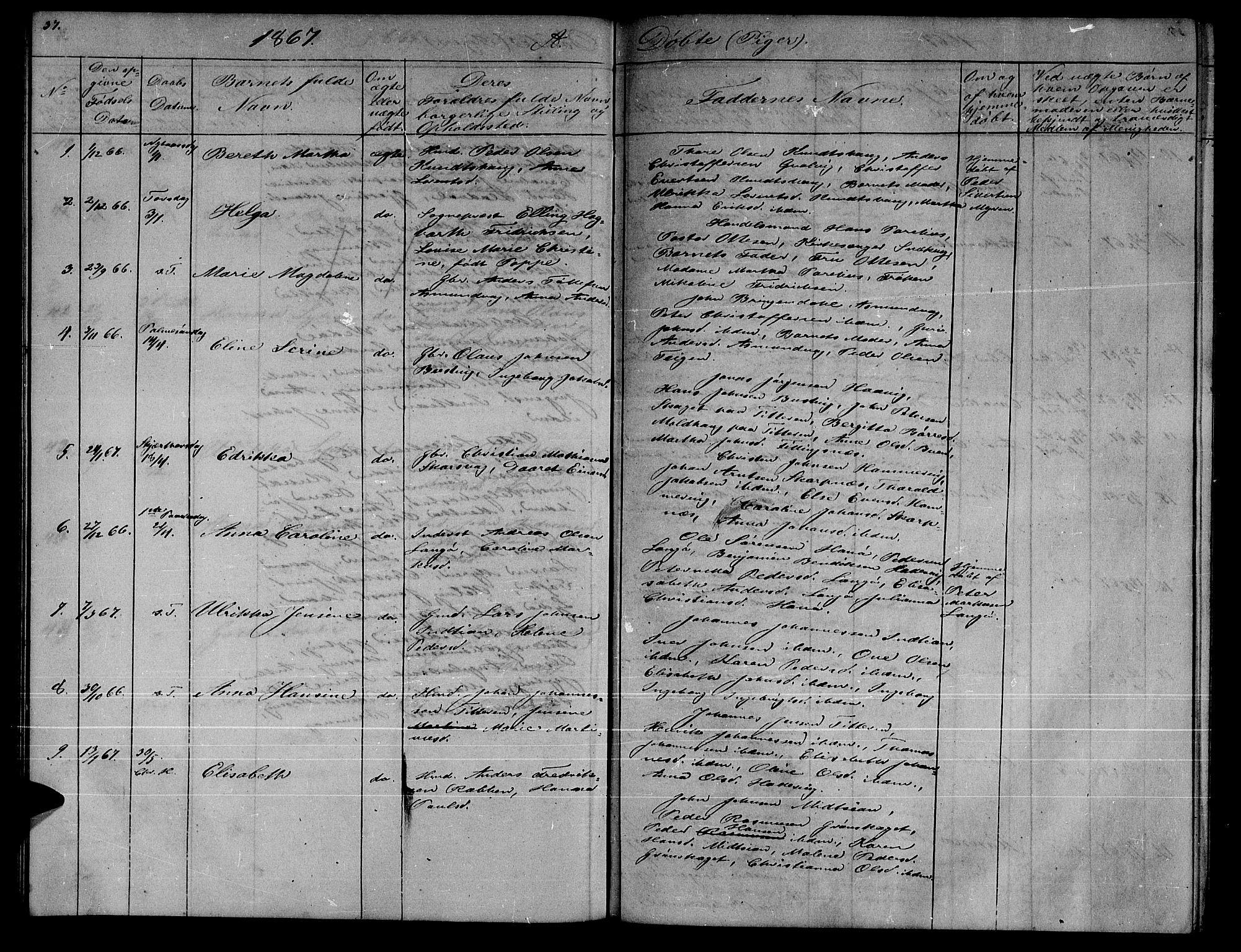 SAT, Ministerialprotokoller, klokkerbøker og fødselsregistre - Sør-Trøndelag, 634/L0539: Klokkerbok nr. 634C01, 1866-1873, s. 37