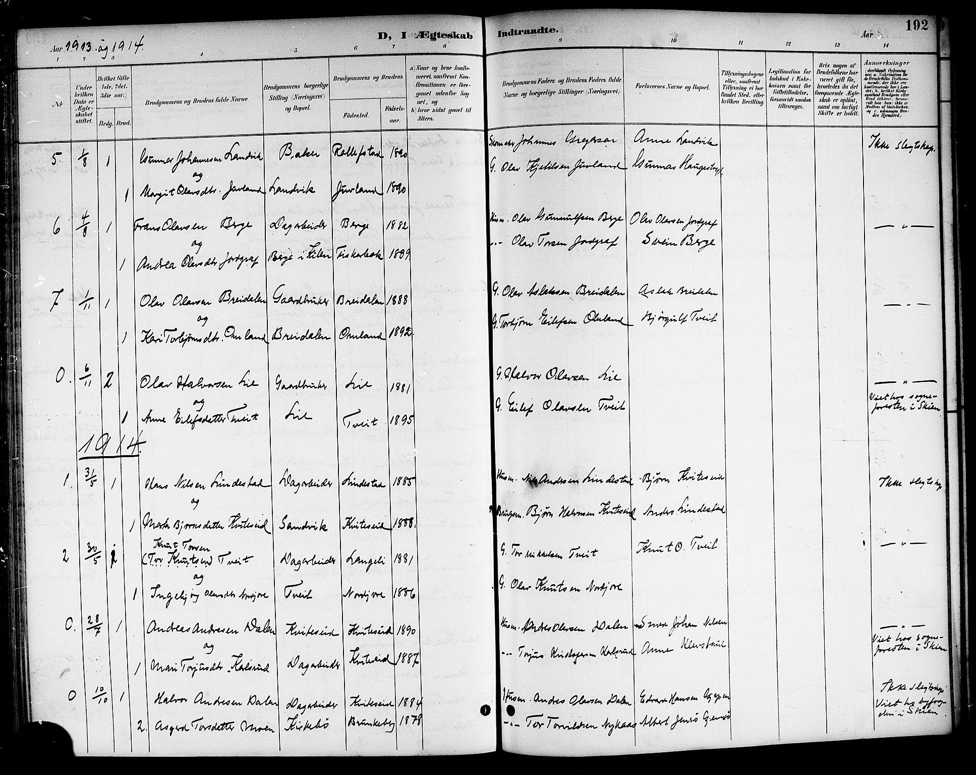 SAKO, Kviteseid kirkebøker, G/Ga/L0002: Klokkerbok nr. I 2, 1893-1918, s. 192