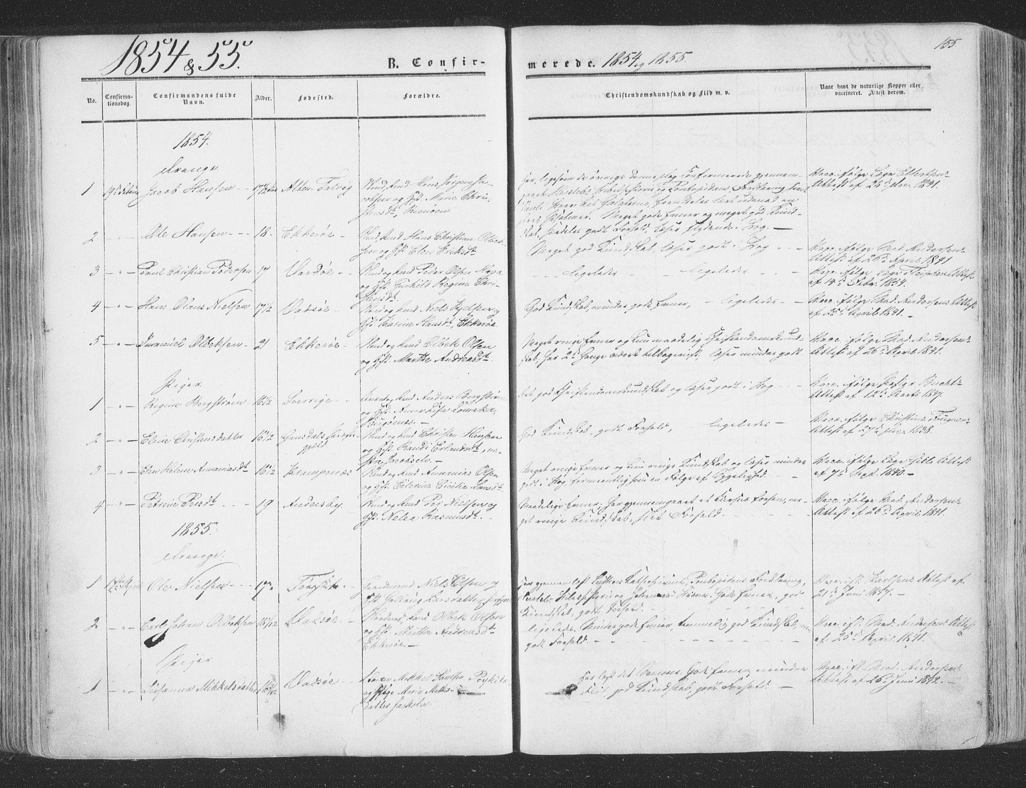 SATØ, Vadsø soknepreskontor, H/Ha/L0004kirke: Ministerialbok nr. 4, 1854-1880, s. 155