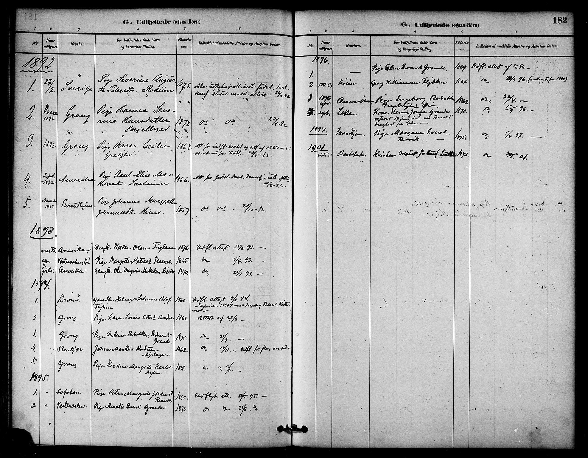 SAT, Ministerialprotokoller, klokkerbøker og fødselsregistre - Nord-Trøndelag, 764/L0555: Ministerialbok nr. 764A10, 1881-1896, s. 182