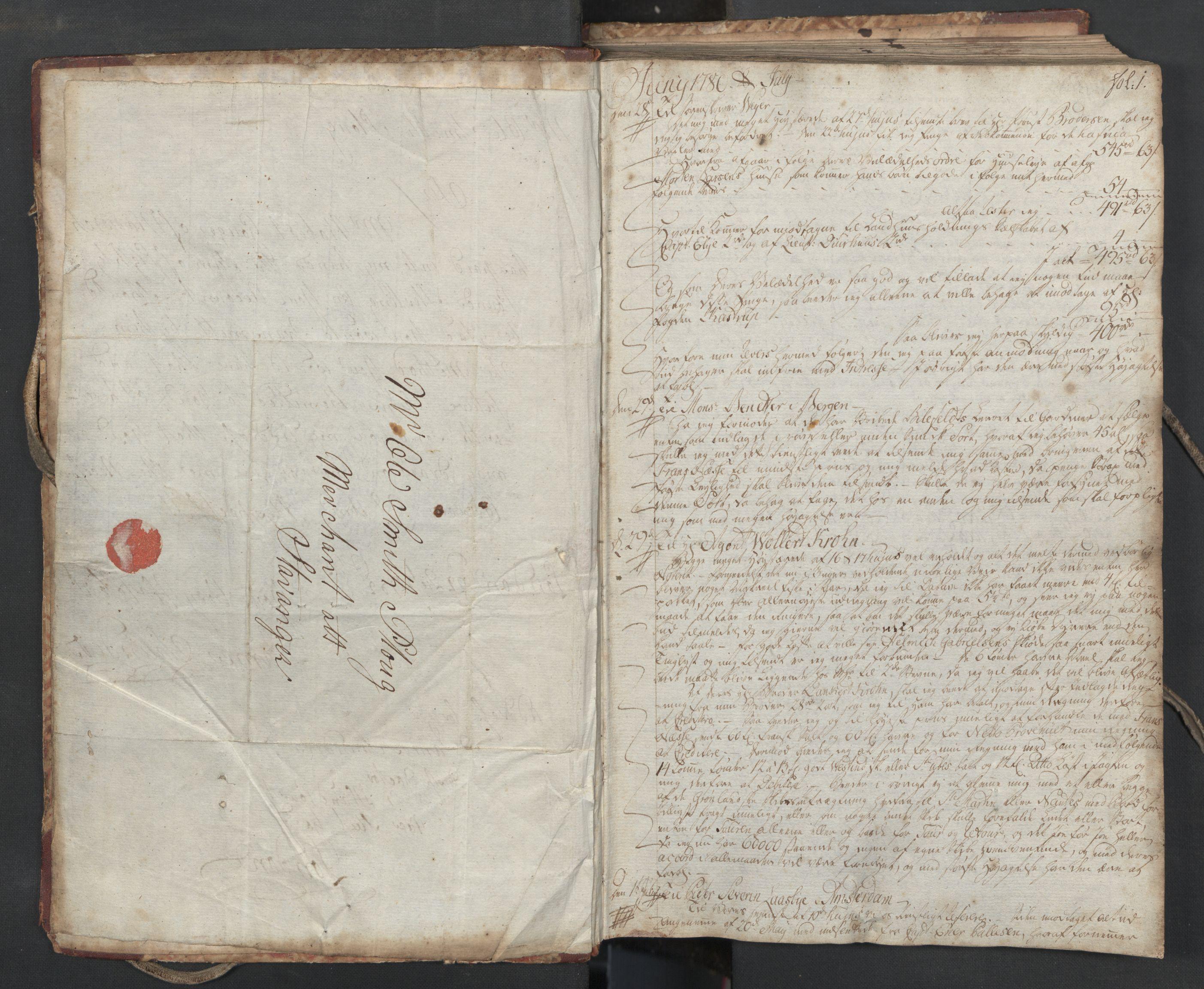 SAST, Pa 0003 - Ploug & Sundt, handelshuset, B/L0004: Kopibok, 1780-1784, s. 1a