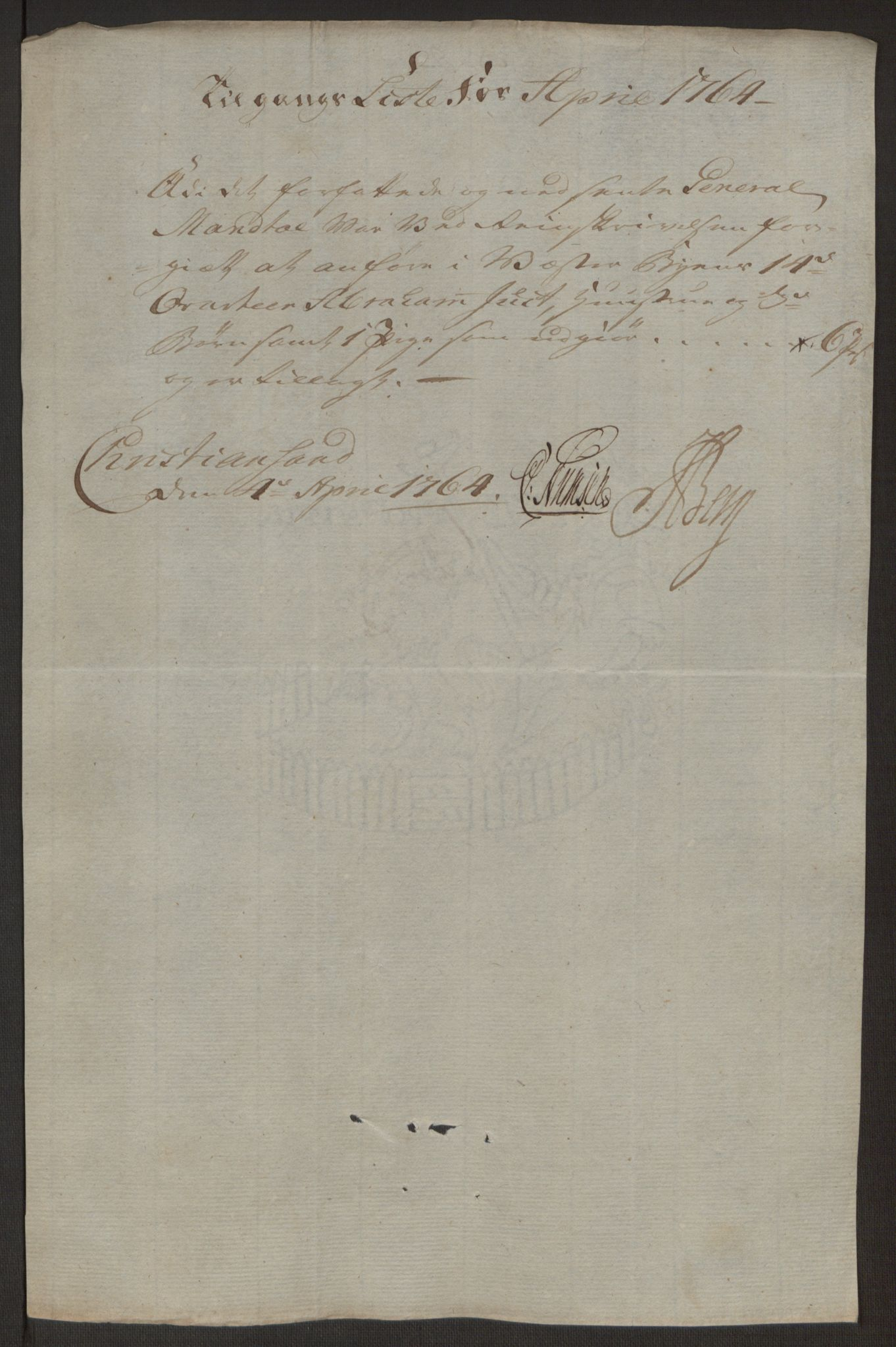 RA, Rentekammeret inntil 1814, Reviderte regnskaper, Byregnskaper, R/Rm/L0265: [M6] Kontribusjonsregnskap, 1762-1764, s. 255