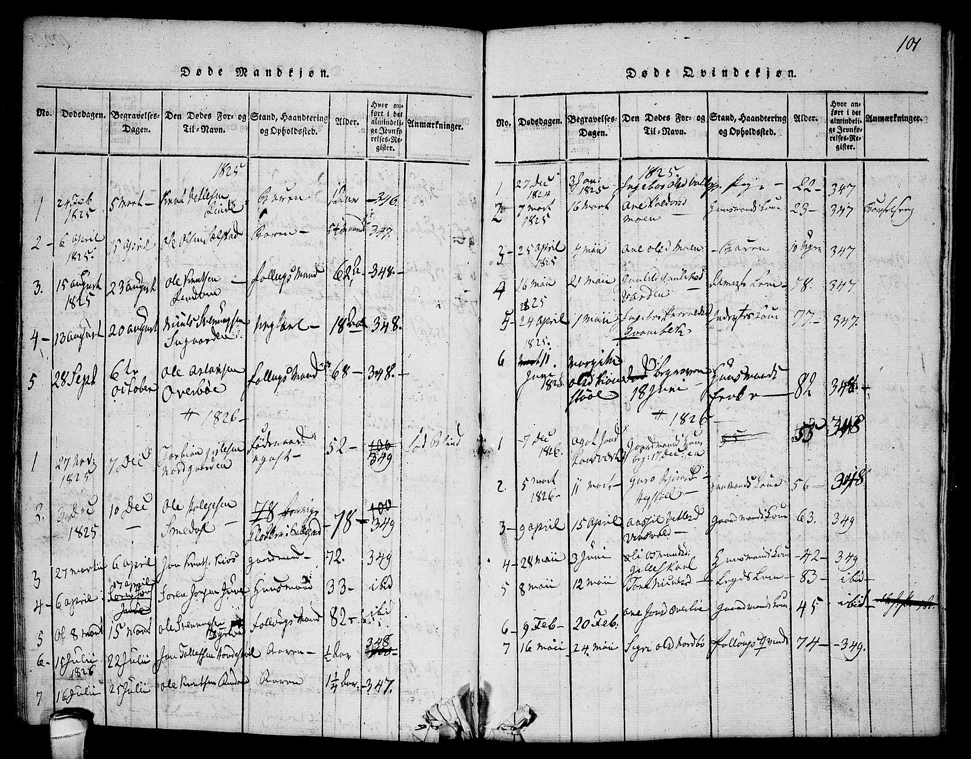 SAKO, Seljord kirkebøker, F/Fc/L0001: Ministerialbok nr. III 1, 1815-1831, s. 101