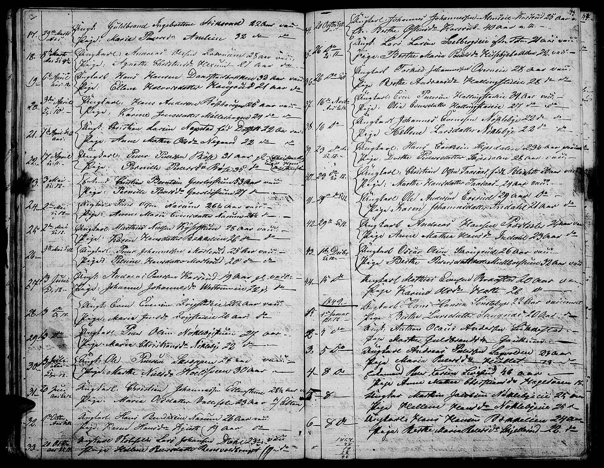 SAH, Vestre Toten prestekontor, H/Ha/Hab/L0003: Klokkerbok nr. 3, 1846-1854, s. 43