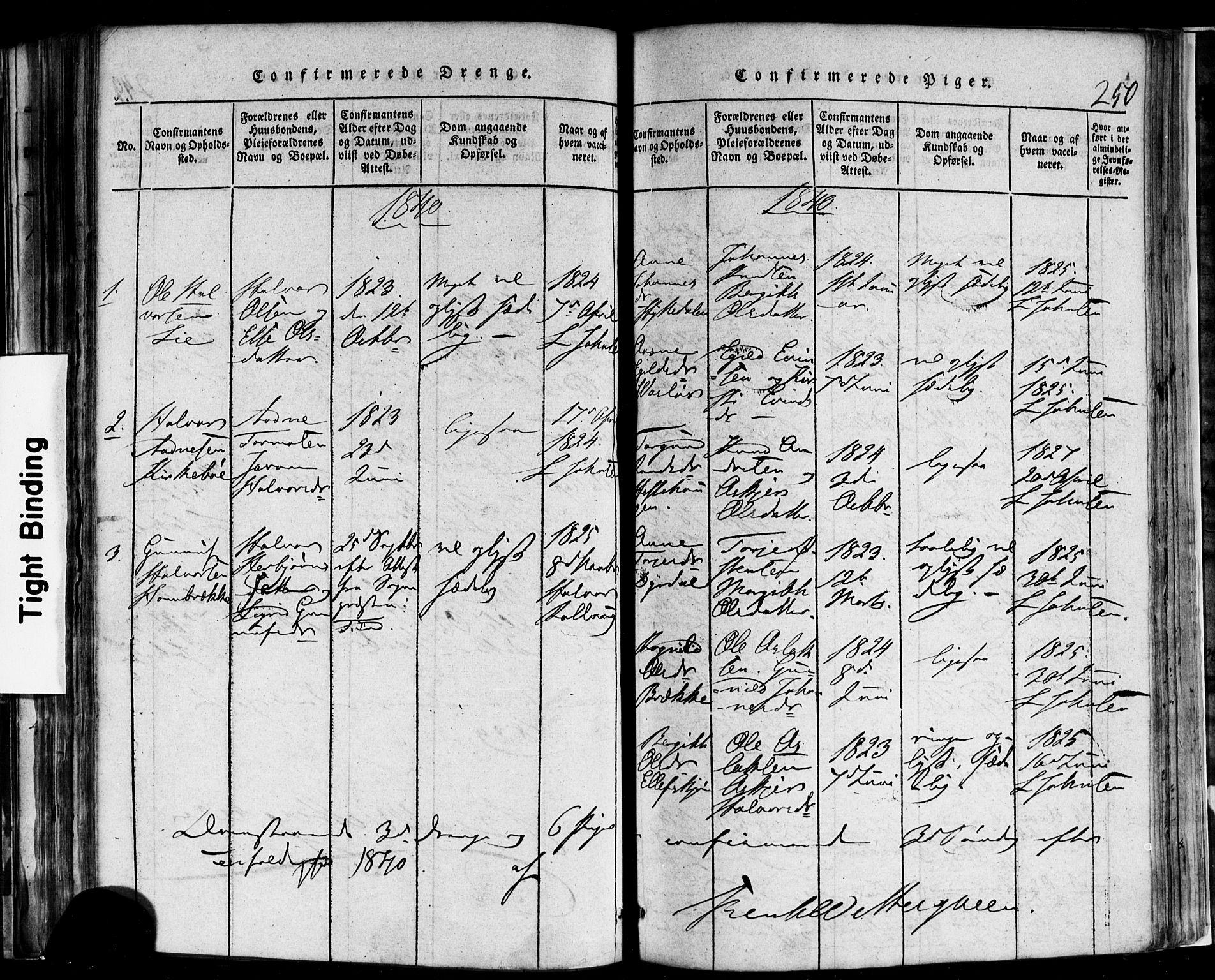 SAKO, Rauland kirkebøker, F/Fa/L0002: Ministerialbok nr. 2, 1815-1860, s. 250