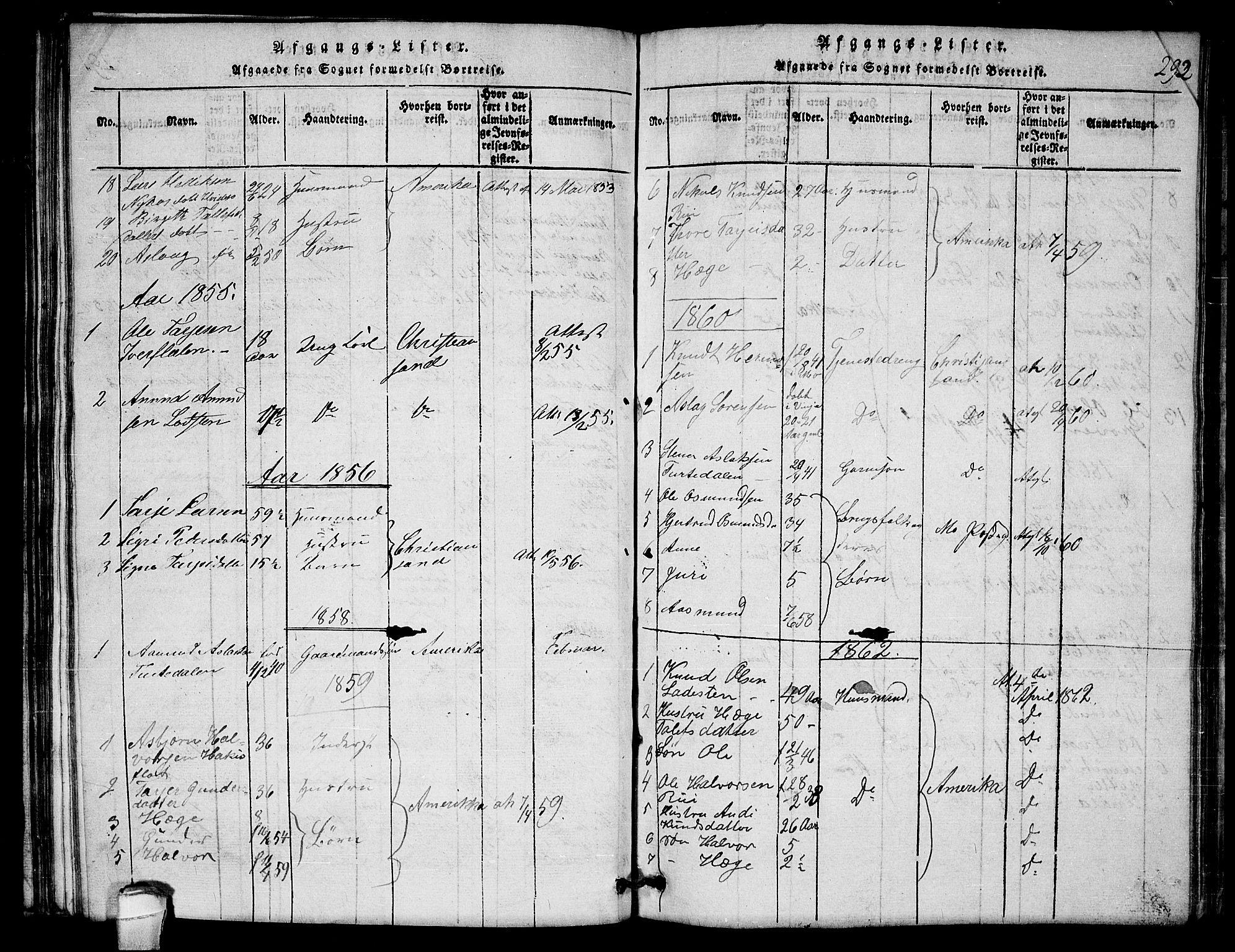 SAKO, Lårdal kirkebøker, G/Gb/L0001: Klokkerbok nr. II 1, 1815-1865, s. 292