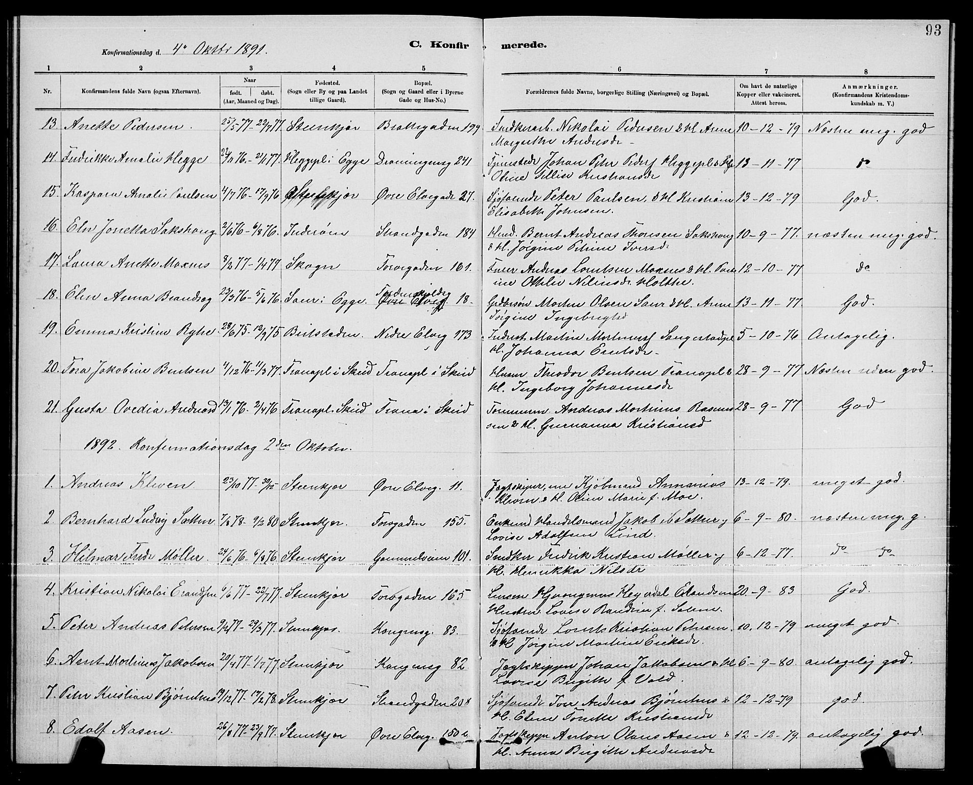 SAT, Ministerialprotokoller, klokkerbøker og fødselsregistre - Nord-Trøndelag, 739/L0374: Klokkerbok nr. 739C02, 1883-1898, s. 93