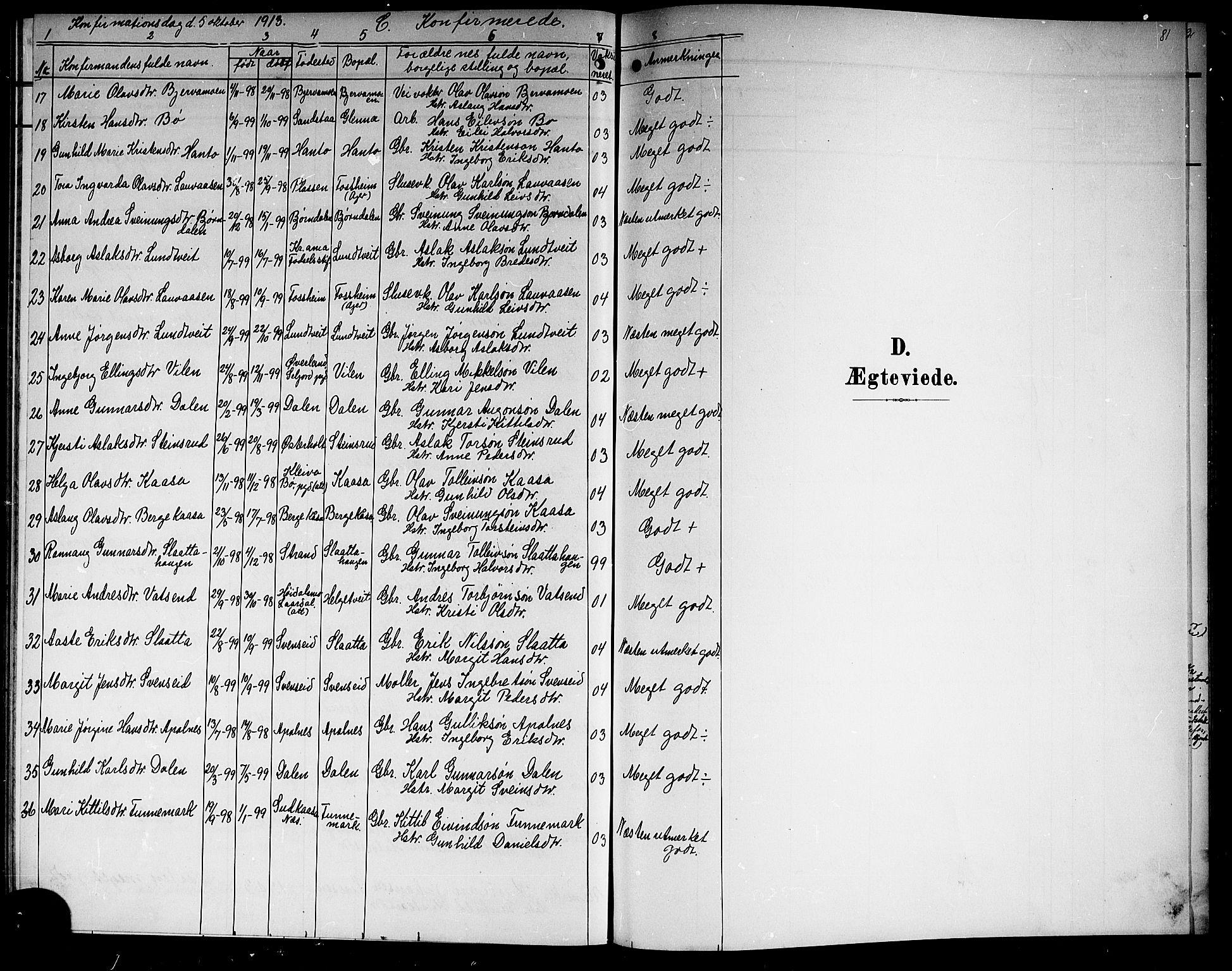 SAKO, Lunde kirkebøker, G/Ga/L0004: Klokkerbok nr. I 4, 1906-1914, s. 81