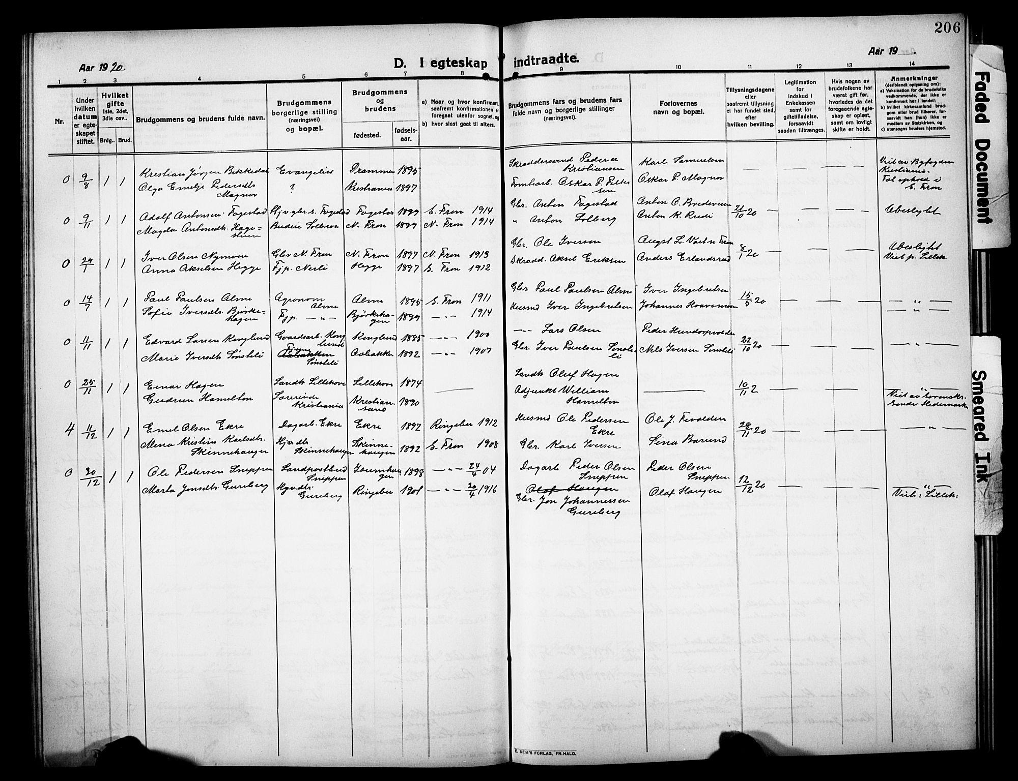 SAH, Sør-Fron prestekontor, H/Ha/Hab/L0005: Klokkerbok nr. 5, 1912-1930, s. 206