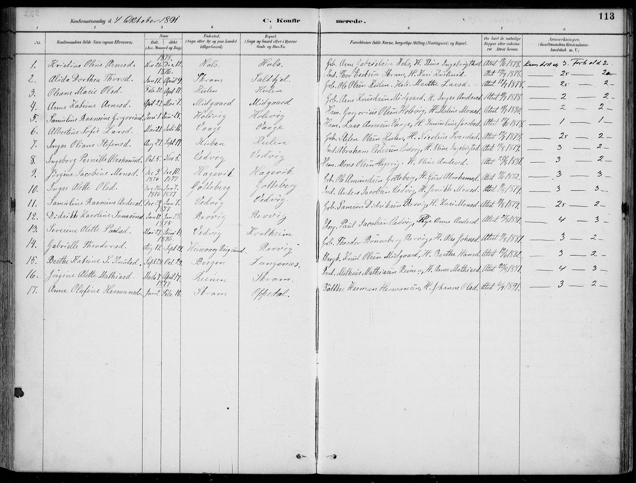 SAB, Selje sokneprestembete*, Ministerialbok nr. C  2, 1889-1904, s. 113