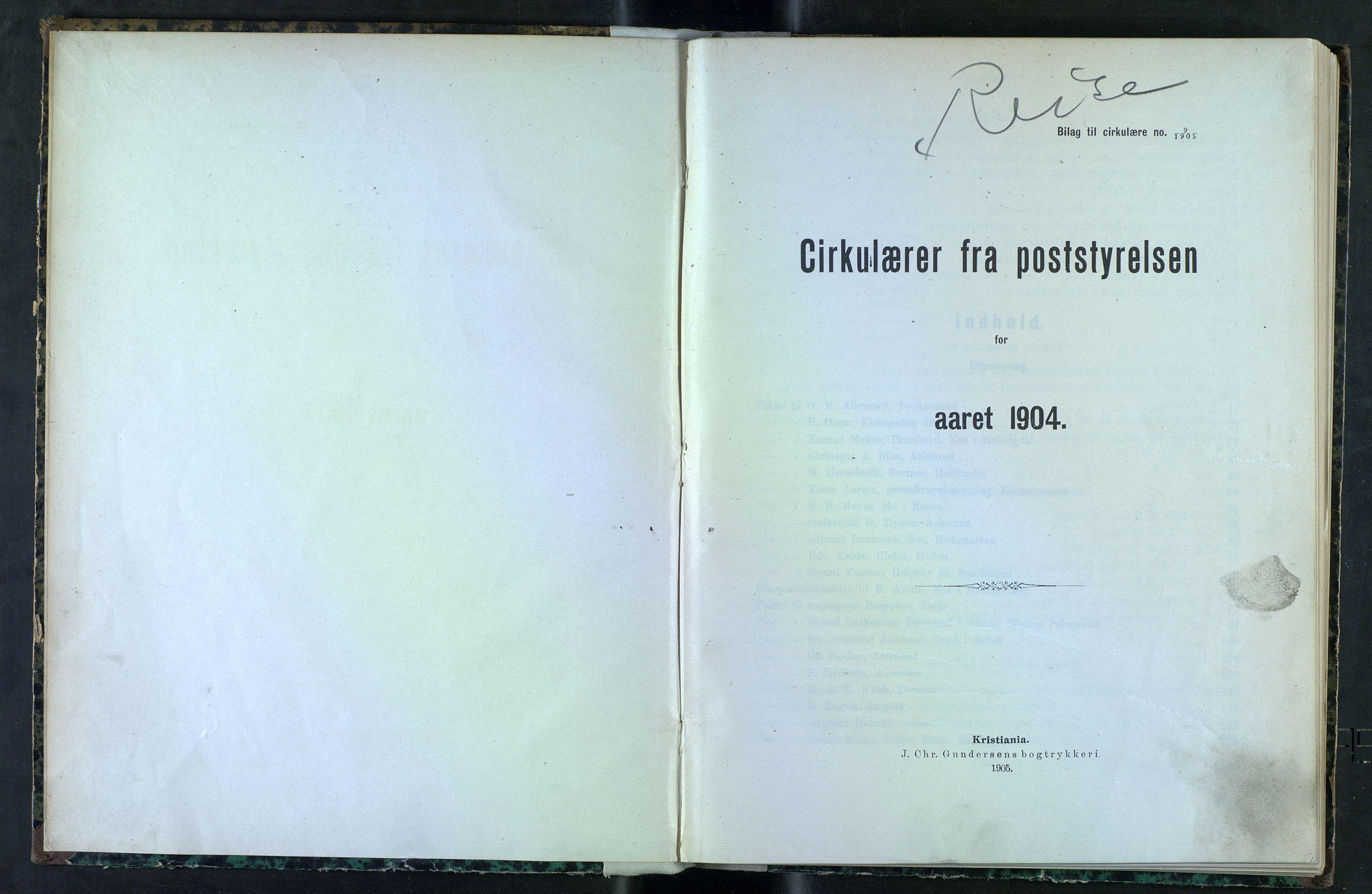 NOPO, Norges Postmuseums bibliotek, -/-: Sirkulærer fra Poststyrelsen, 1904