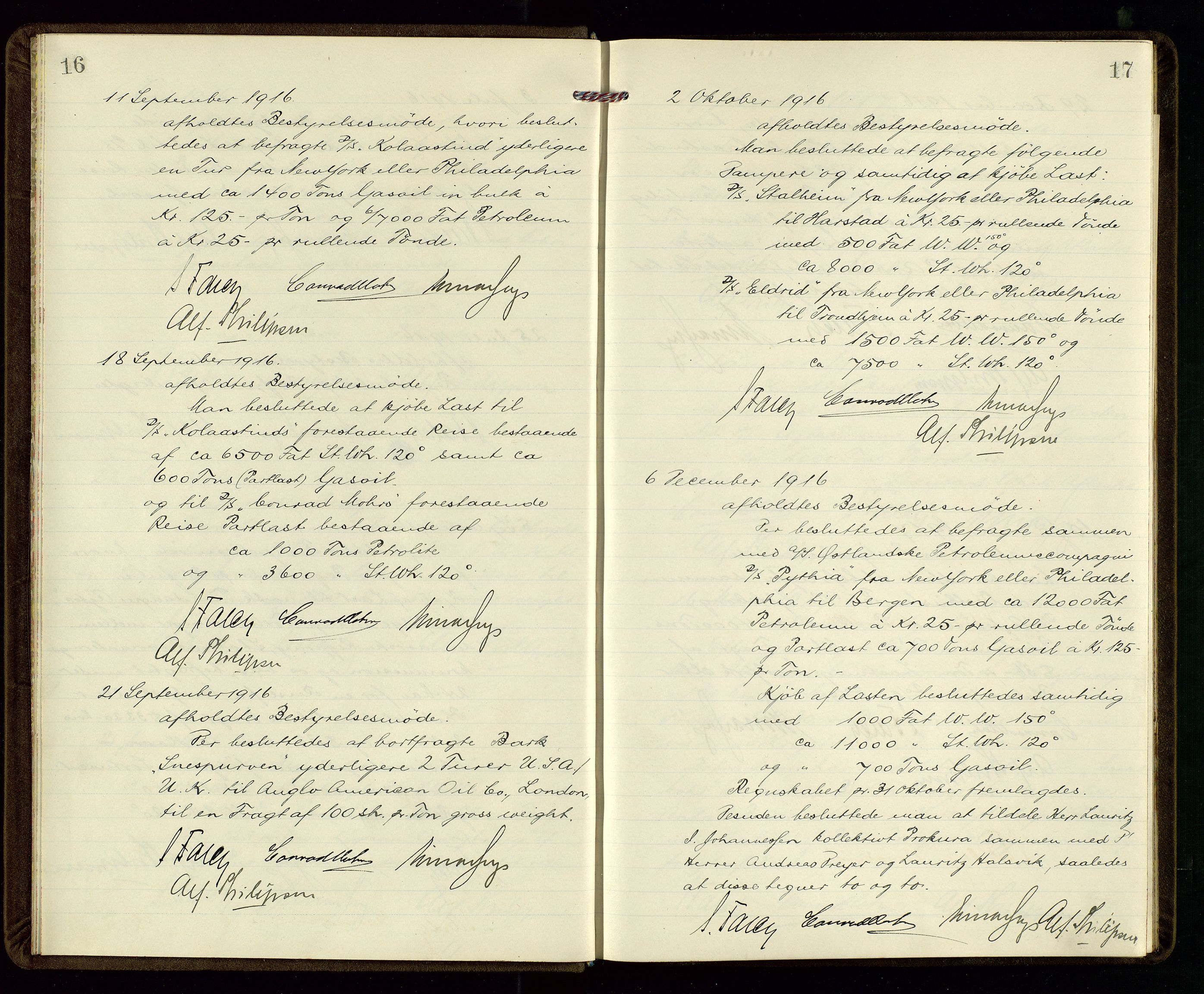 SAST, PA 1533 - A/S Vestlandske Petroleumscompani, A/Aa/L0001: Generalforsamlinger og styreprotokoller, 1915-1922, s. 16-17