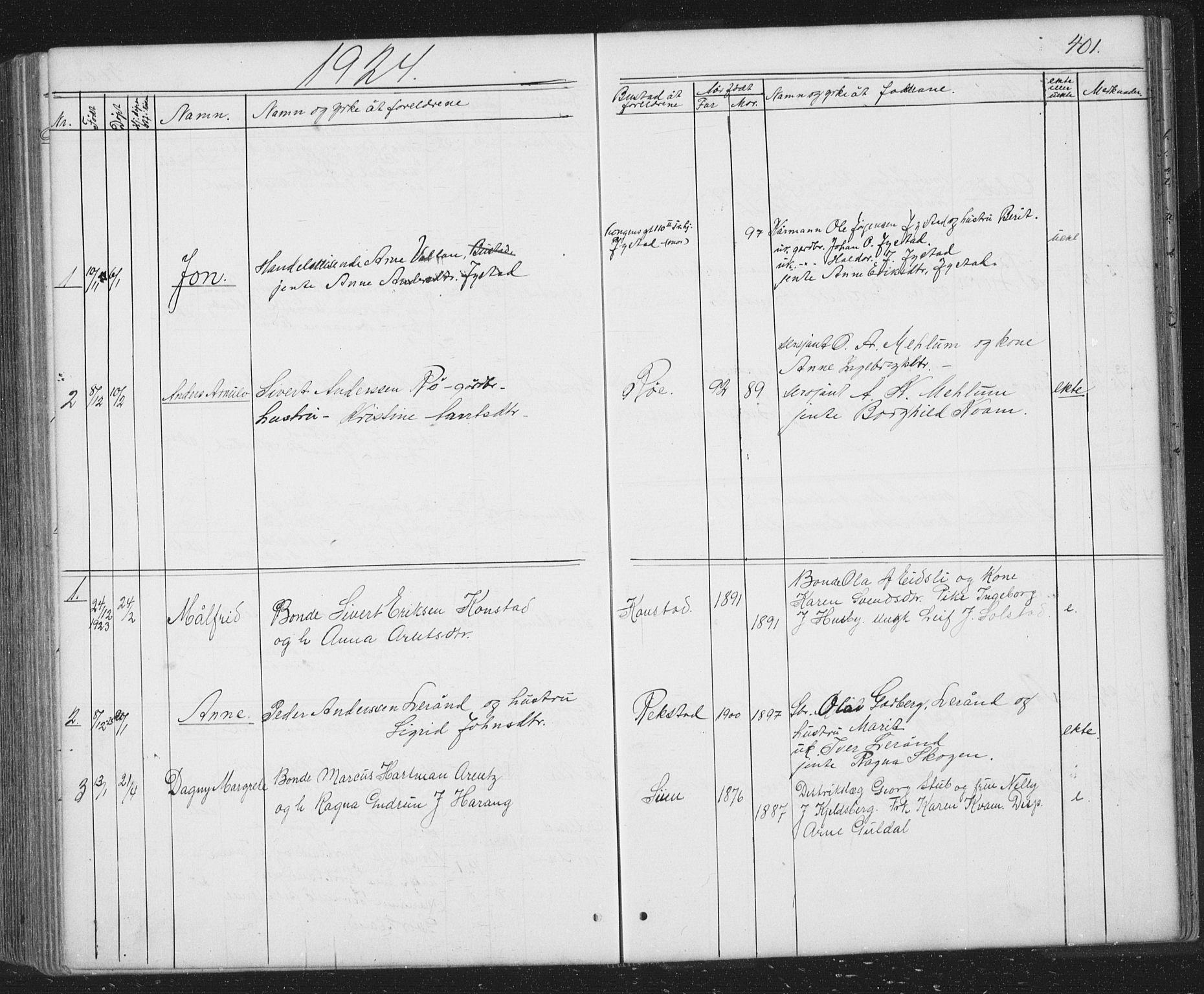 SAT, Ministerialprotokoller, klokkerbøker og fødselsregistre - Sør-Trøndelag, 667/L0798: Klokkerbok nr. 667C03, 1867-1929, s. 401