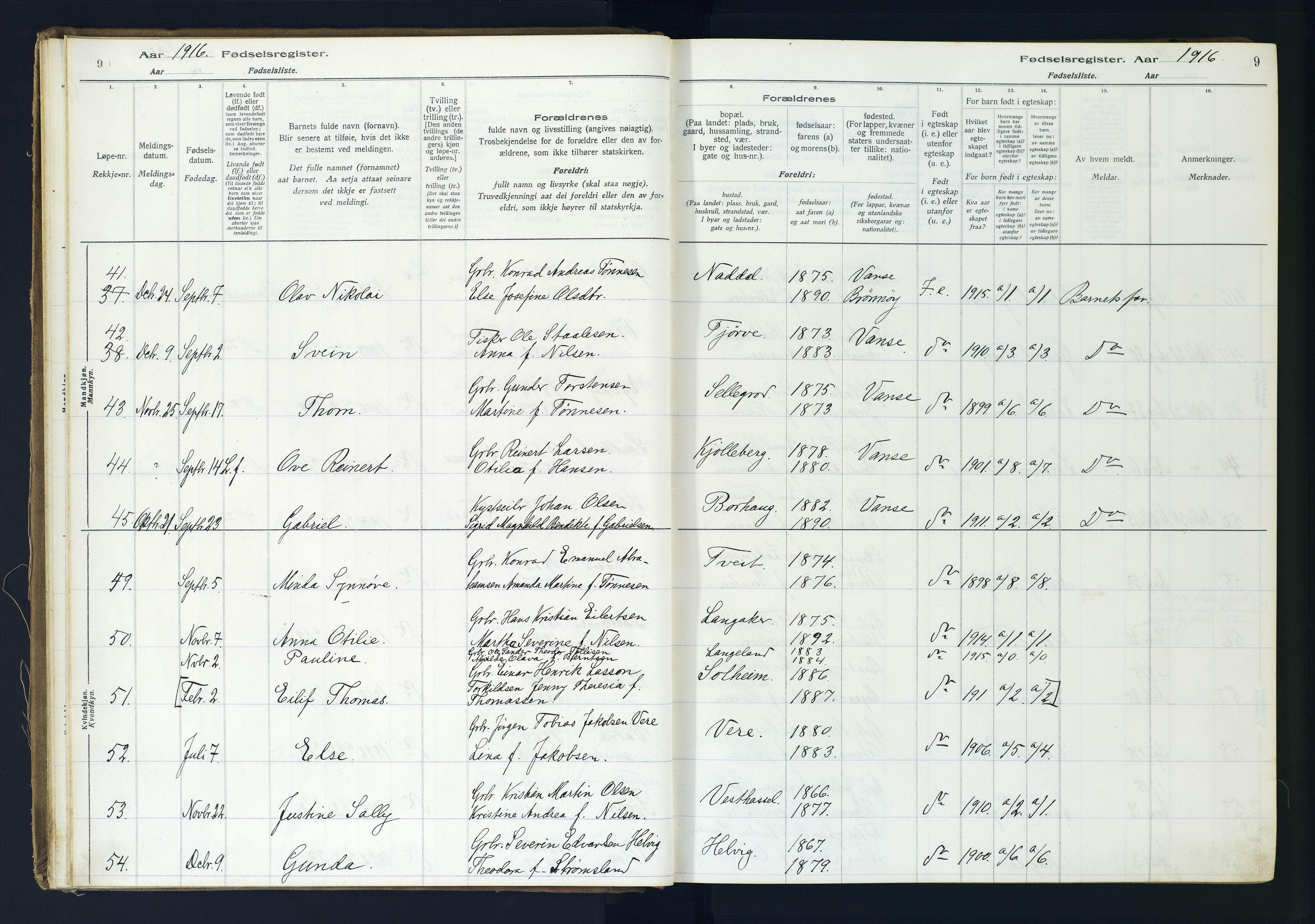 SAK, Lista sokneprestkontor, J/Ja/L0001: Fødselsregister nr. A-VI-30, 1916-1934, s. 9