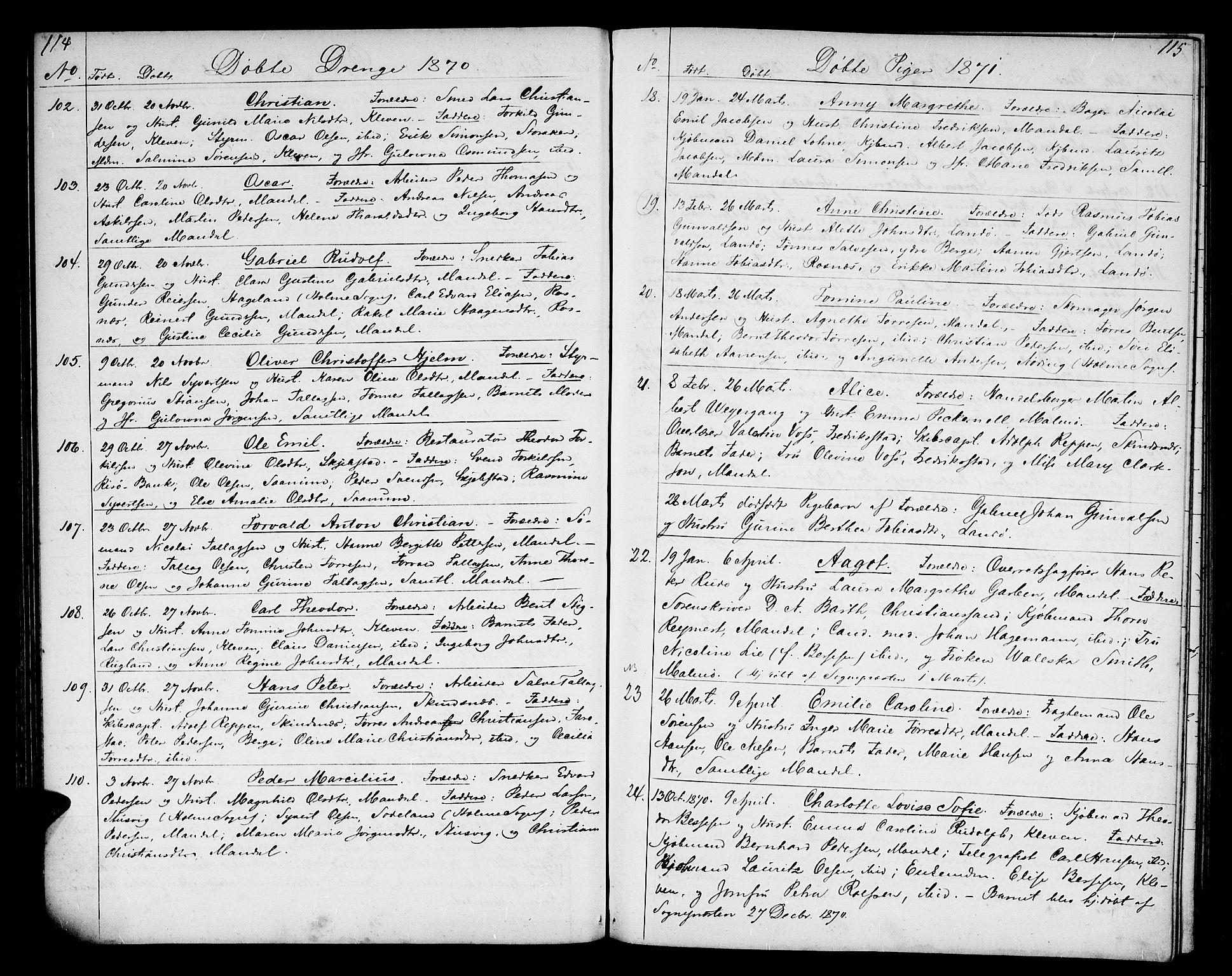 SAK, Mandal sokneprestkontor, F/Fb/Fba/L0009: Klokkerbok nr. B 3, 1867-1877, s. 114-115