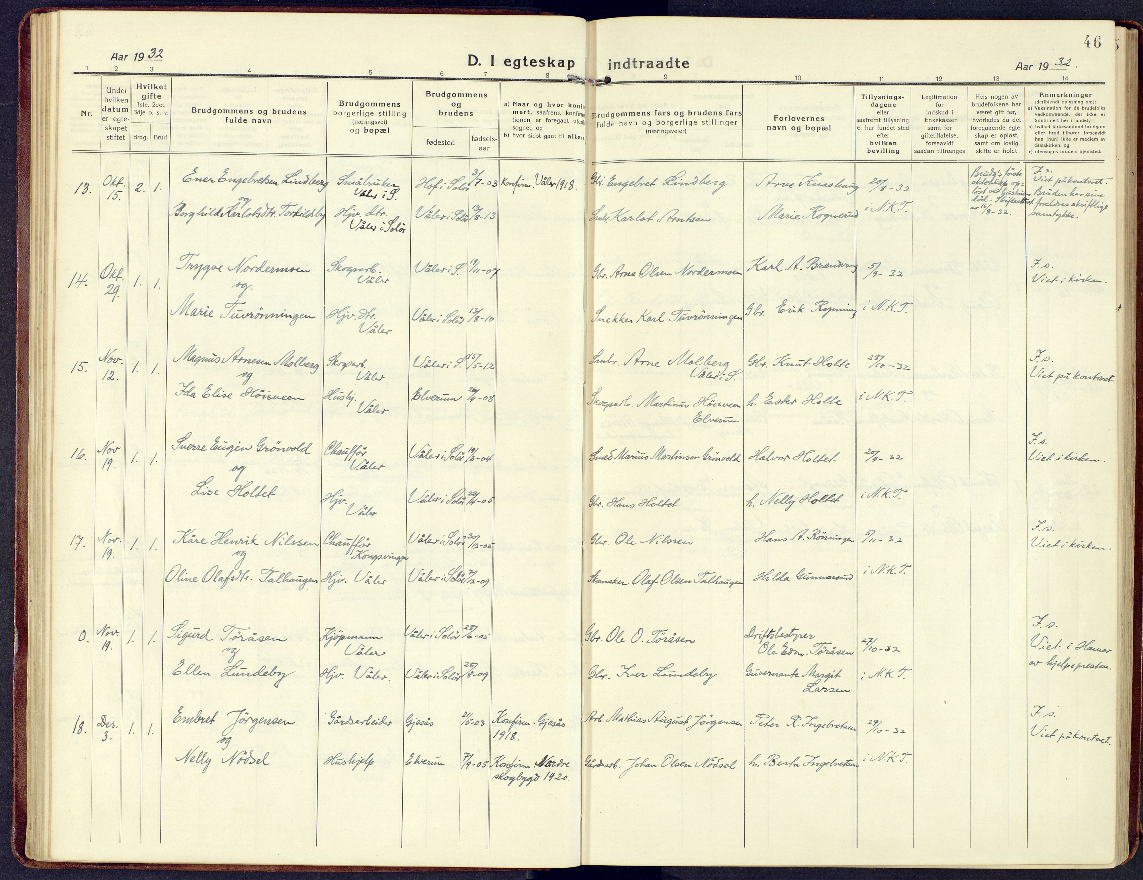 SAH, Våler prestekontor, Ministerialbok nr. 11, 1919-1933, s. 46