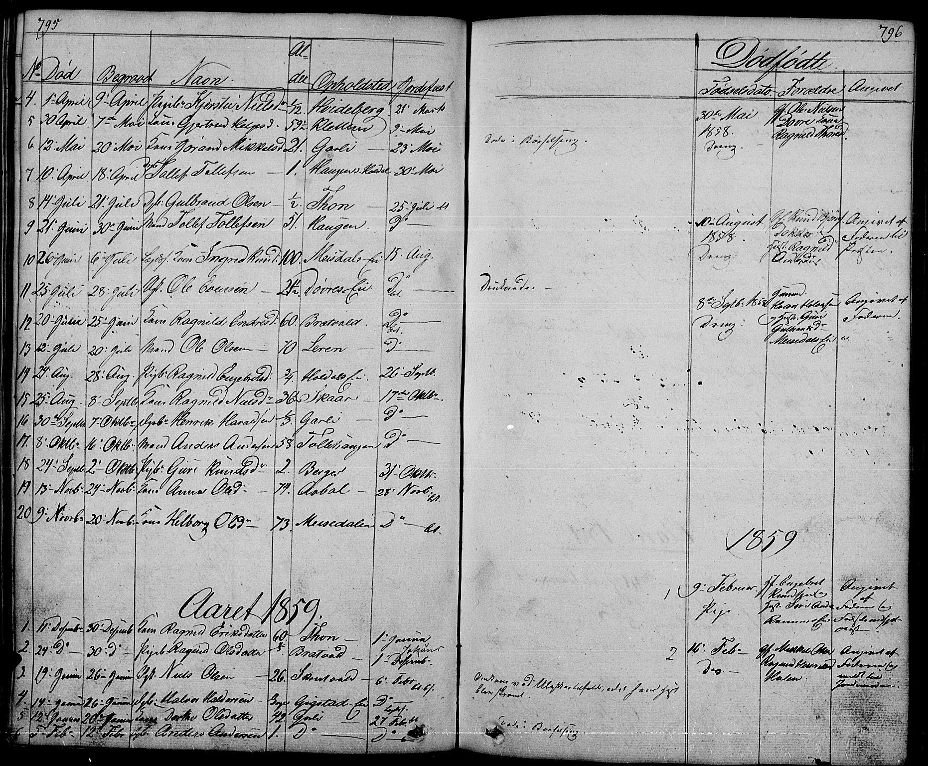 SAH, Nord-Aurdal prestekontor, Klokkerbok nr. 1, 1834-1887, s. 795-796