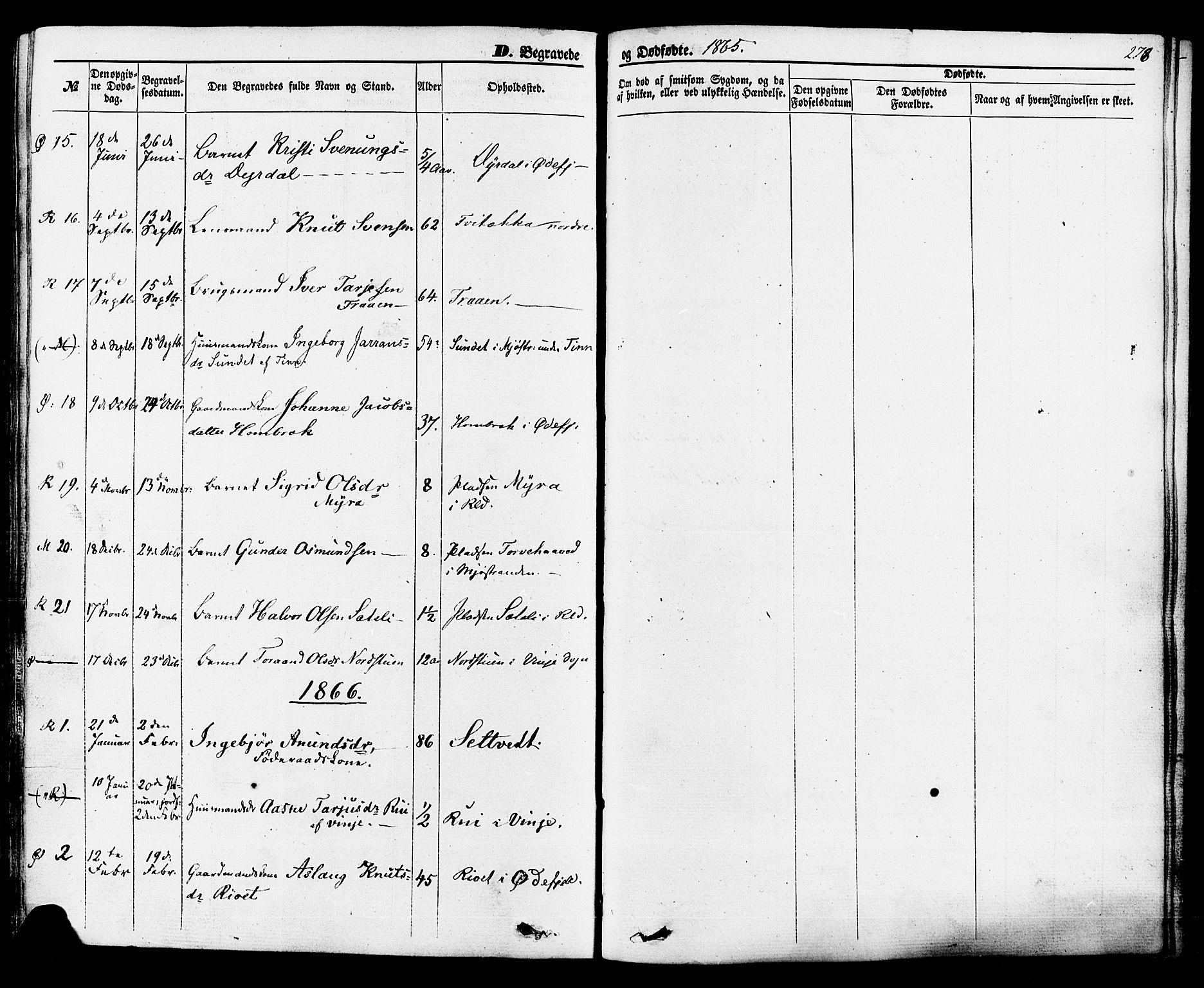 SAKO, Rauland kirkebøker, F/Fa/L0003: Ministerialbok nr. 3, 1859-1886, s. 278