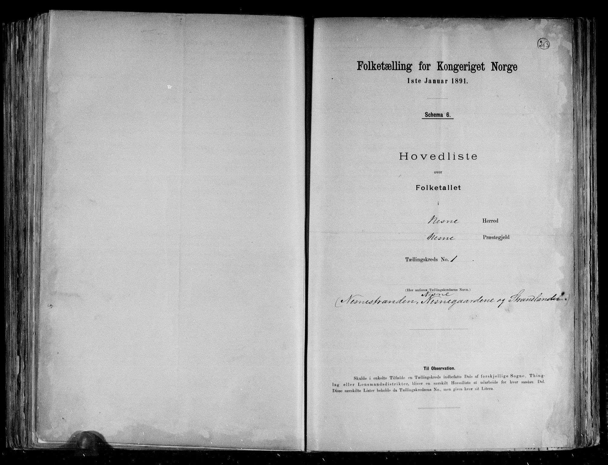 RA, Folketelling 1891 for 1828 Nesna herred, 1891, s. 4