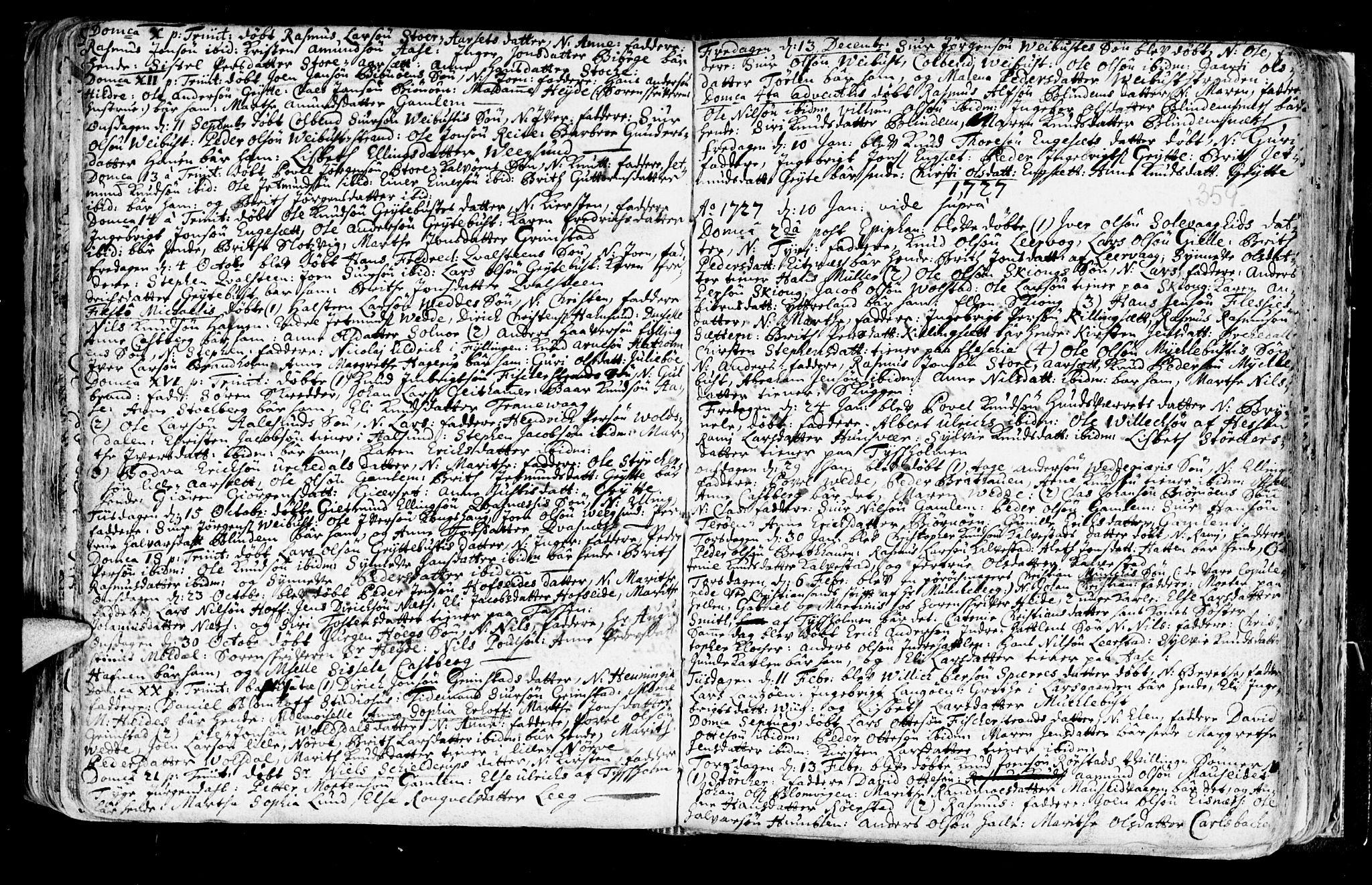 SAT, Ministerialprotokoller, klokkerbøker og fødselsregistre - Møre og Romsdal, 528/L0390: Ministerialbok nr. 528A01, 1698-1739, s. 358-359