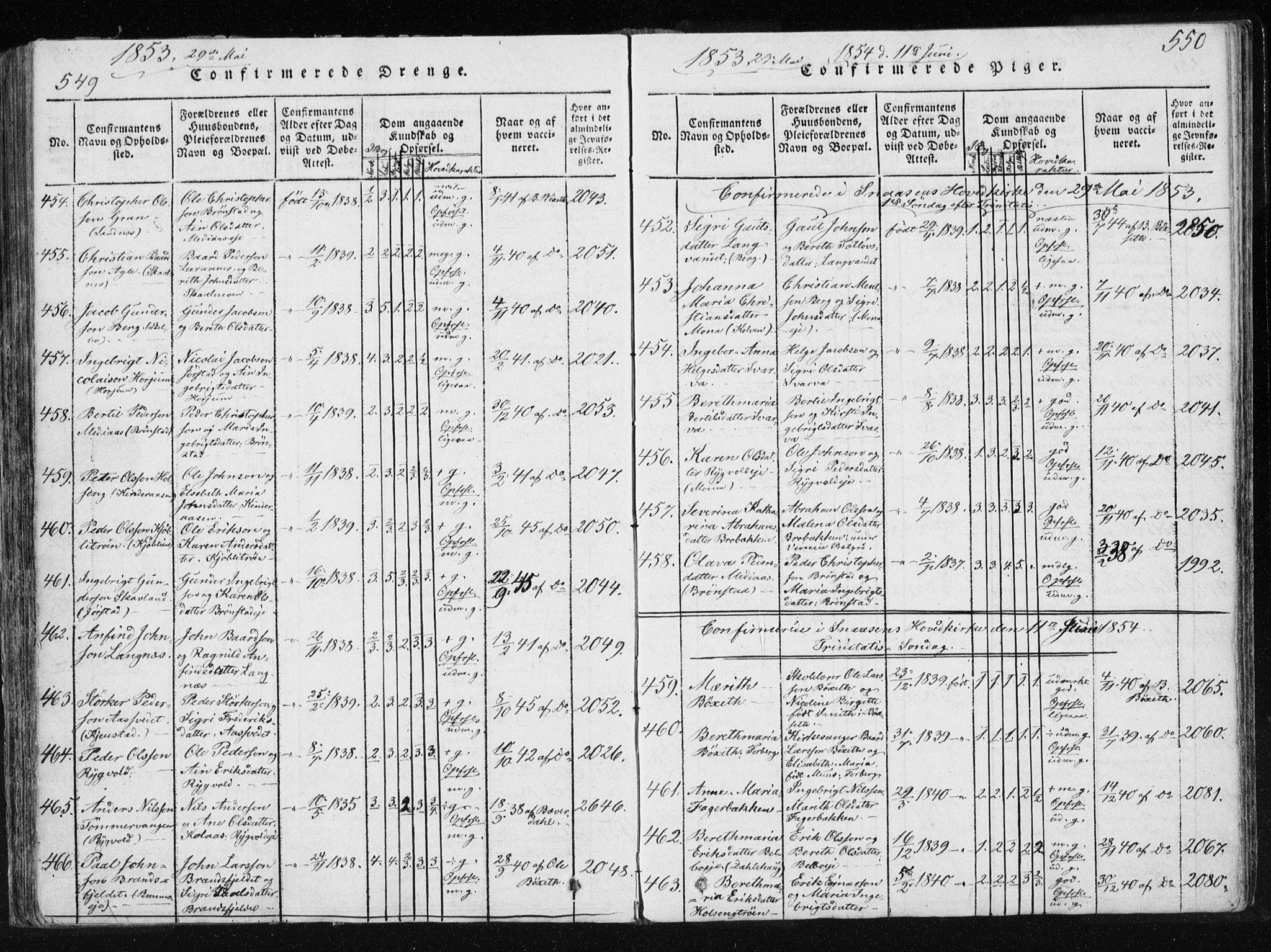 SAT, Ministerialprotokoller, klokkerbøker og fødselsregistre - Nord-Trøndelag, 749/L0469: Ministerialbok nr. 749A03, 1817-1857, s. 549-550