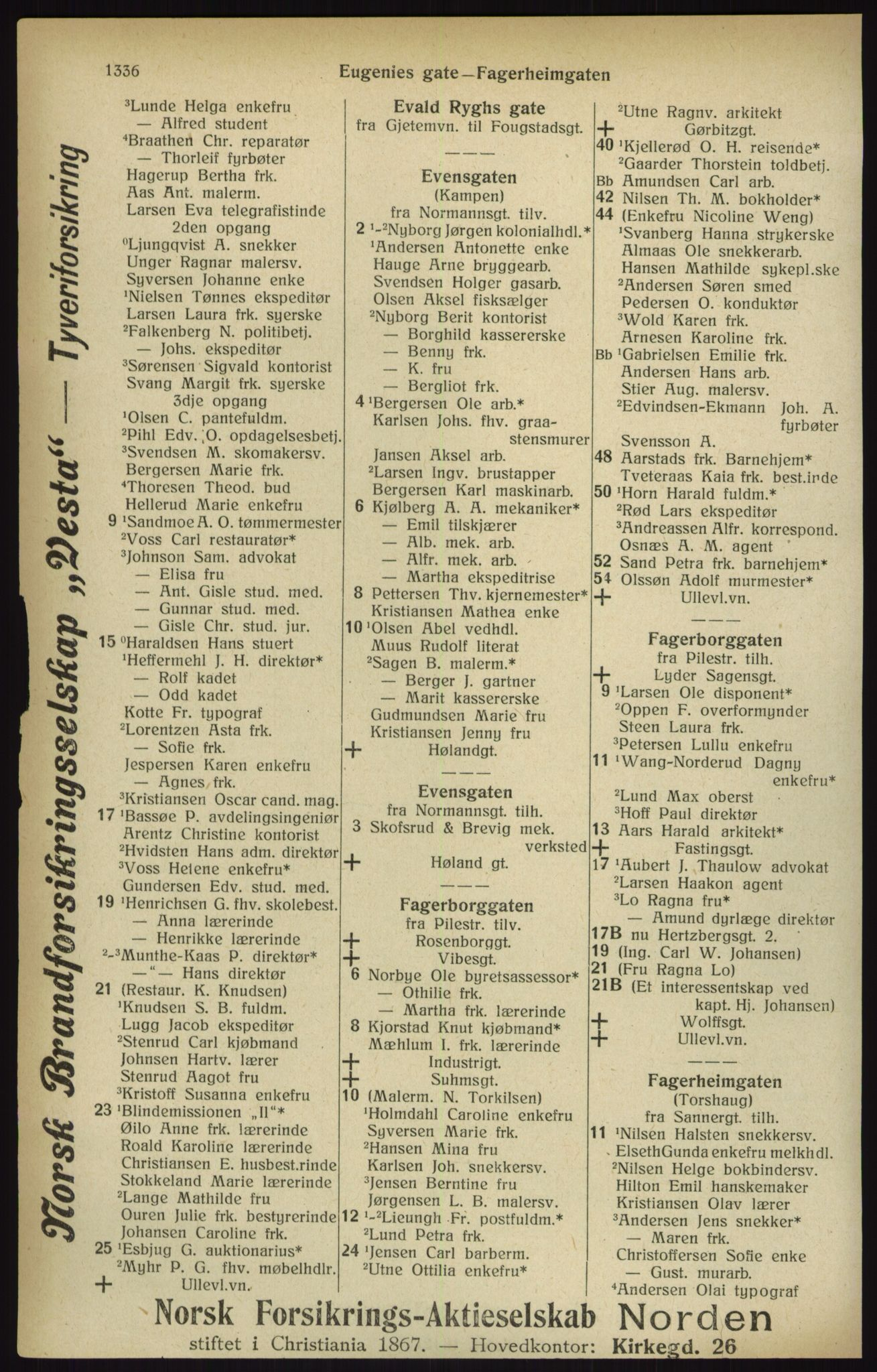RA, Kristiania adressebok (publikasjon)*, 1916, s. 1336