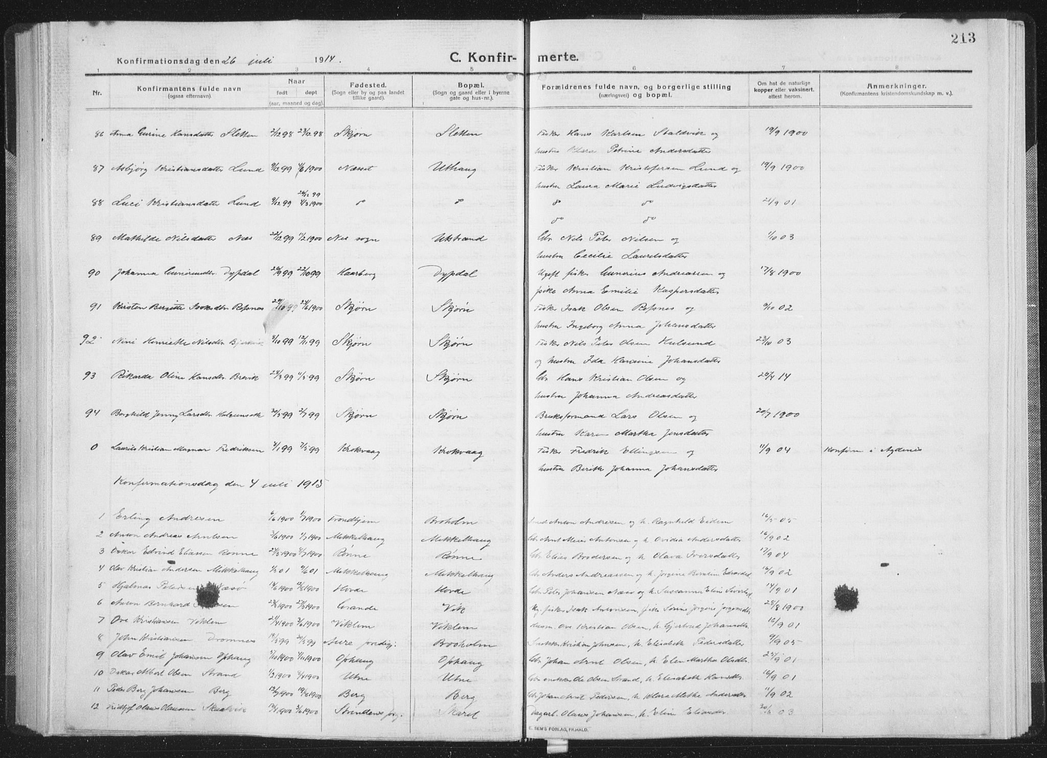 SAT, Ministerialprotokoller, klokkerbøker og fødselsregistre - Sør-Trøndelag, 659/L0747: Klokkerbok nr. 659C04, 1913-1938, s. 213