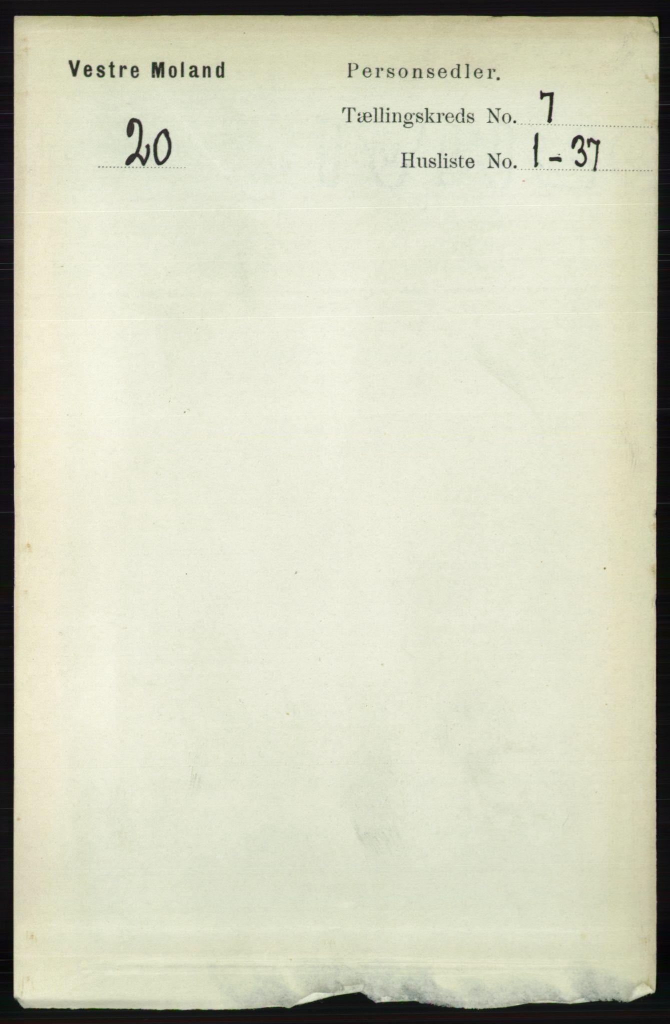 RA, Folketelling 1891 for 0926 Vestre Moland herred, 1891, s. 2798