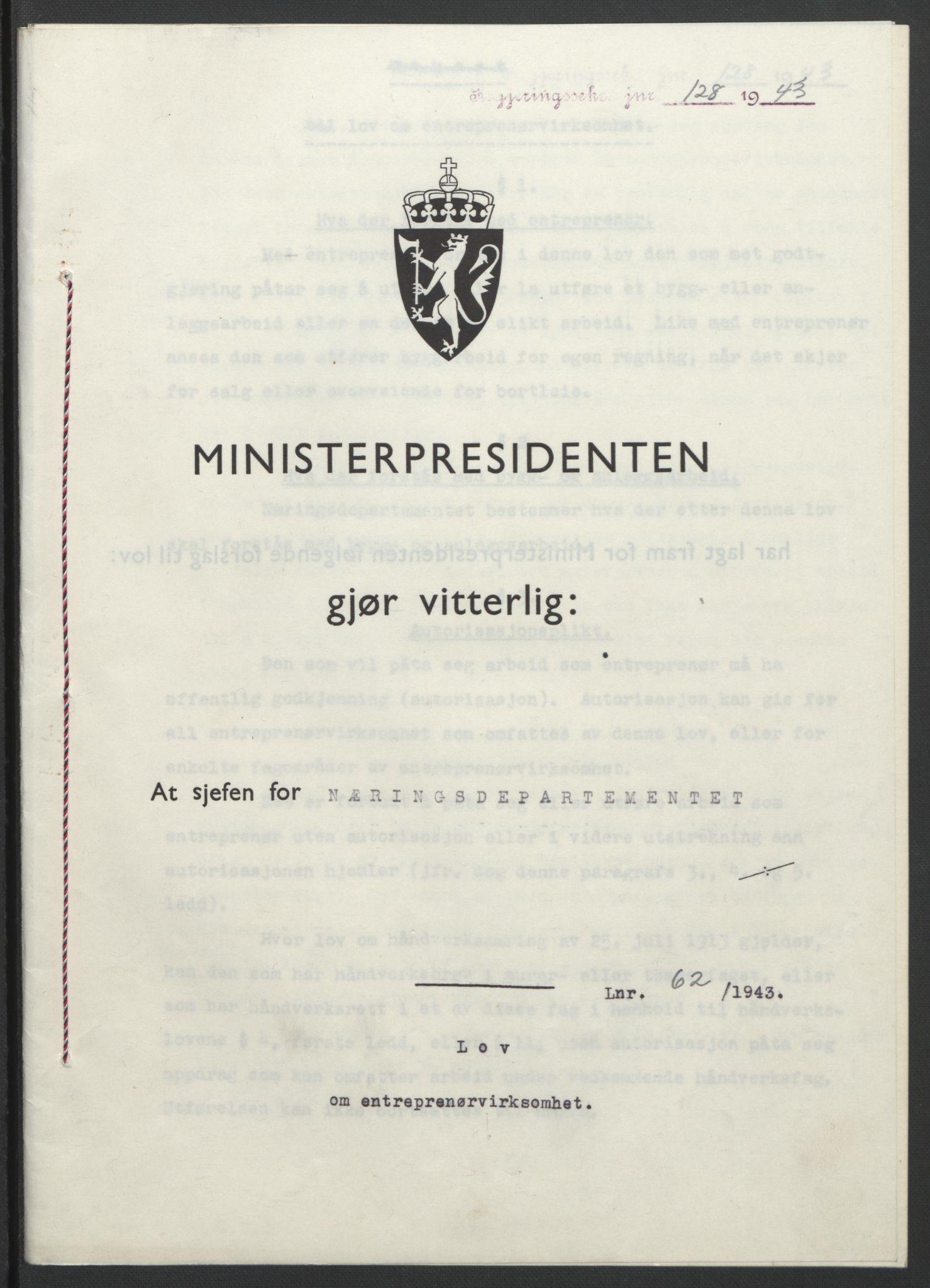 RA, NS-administrasjonen 1940-1945 (Statsrådsekretariatet, de kommisariske statsråder mm), D/Db/L0099: Lover, 1943, s. 279
