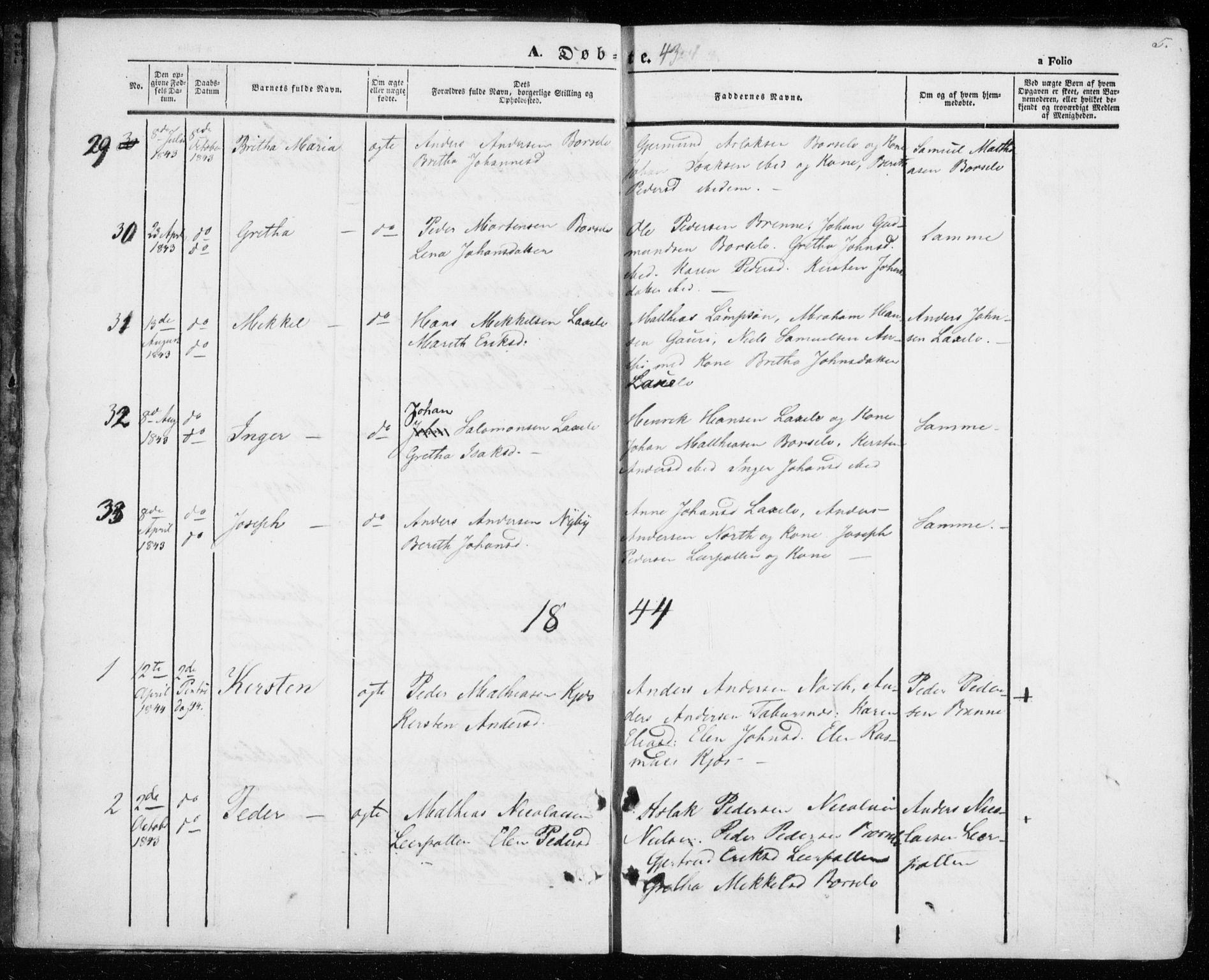 SATØ, Kistrand/Porsanger sokneprestembete, H/Ha/L0004.kirke: Ministerialbok nr. 4, 1843-1860, s. 5
