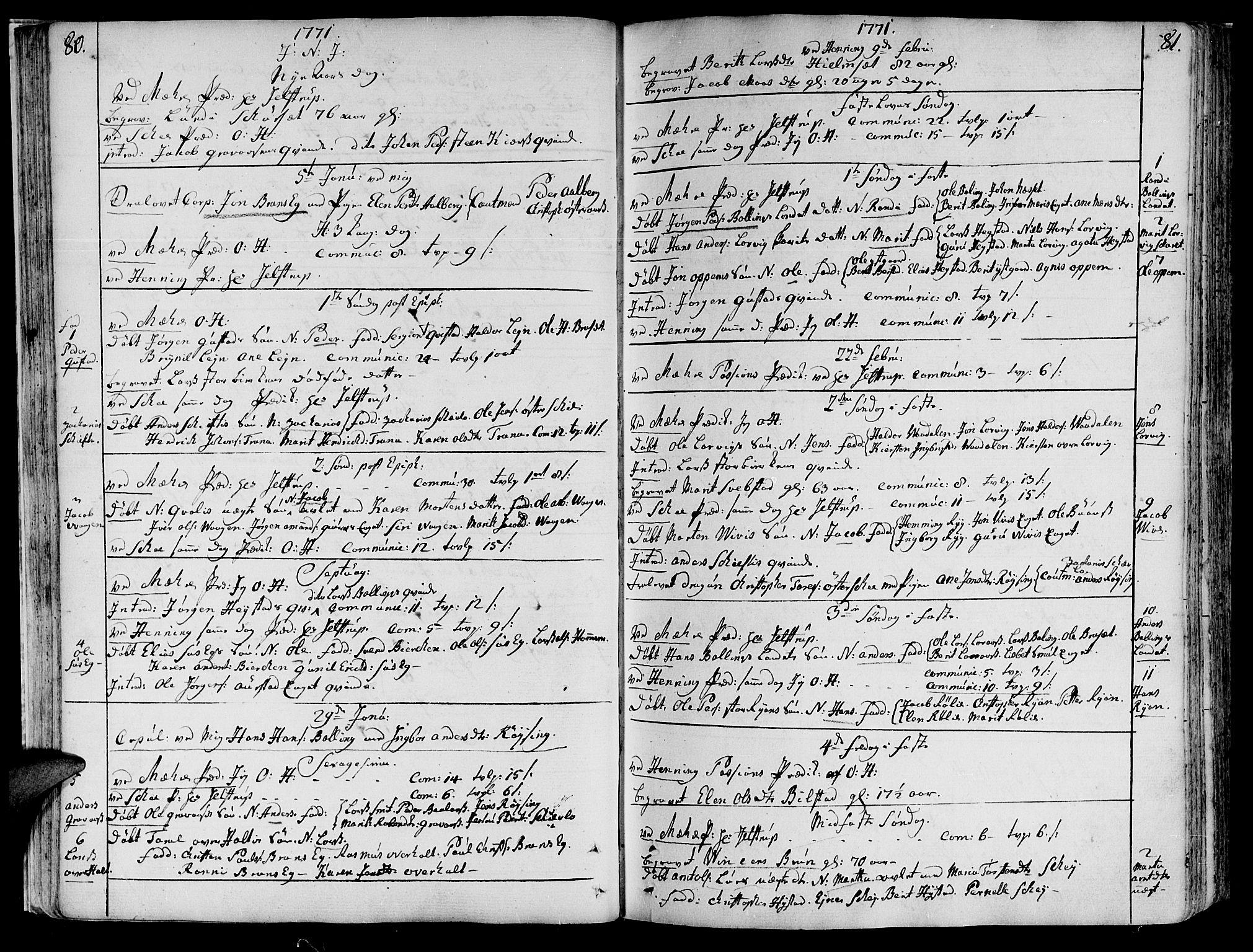 SAT, Ministerialprotokoller, klokkerbøker og fødselsregistre - Nord-Trøndelag, 735/L0331: Ministerialbok nr. 735A02, 1762-1794, s. 80-81