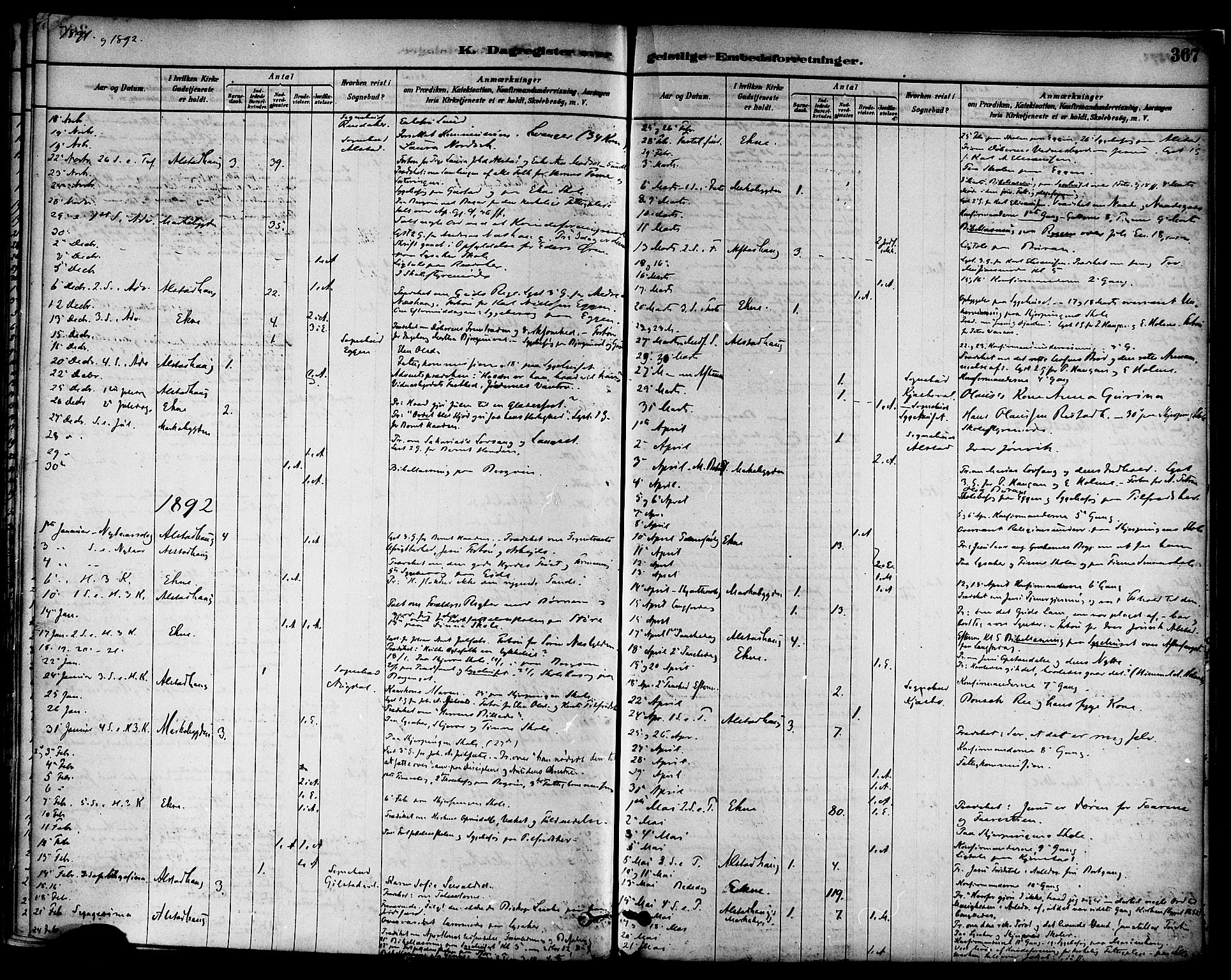 SAT, Ministerialprotokoller, klokkerbøker og fødselsregistre - Nord-Trøndelag, 717/L0159: Ministerialbok nr. 717A09, 1878-1898, s. 367