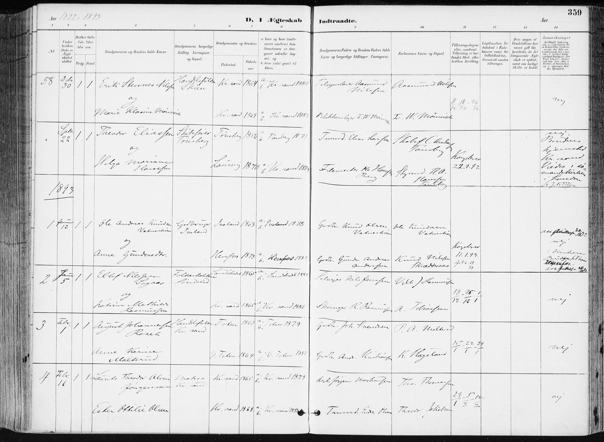 SAK, Kristiansand domprosti, F/Fa/L0019: Ministerialbok nr. A 18, 1890-1897, s. 359